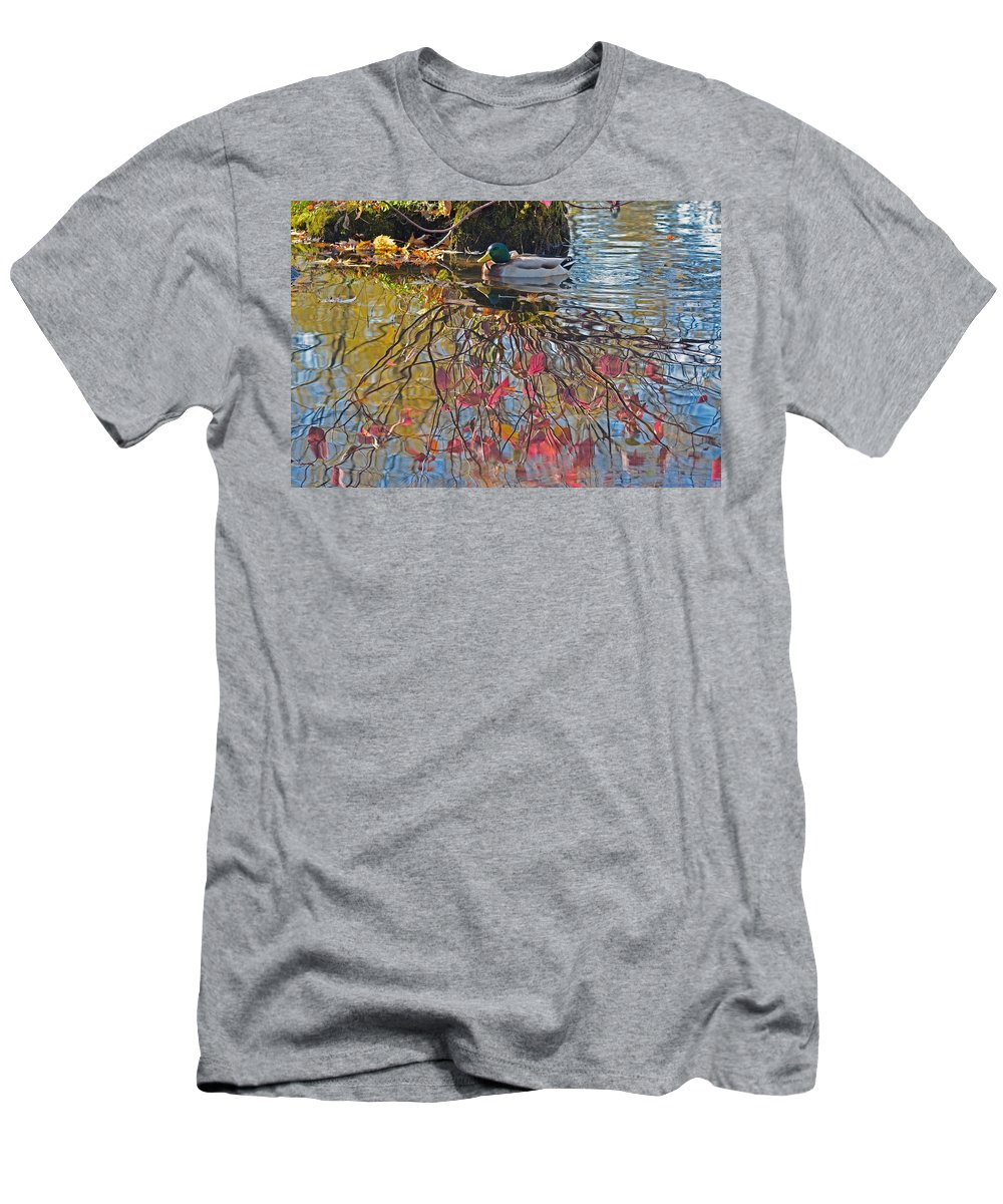 Duck Men's T-Shirt (Athletic Fit) featuring the photograph Autumn Reflections by Asbed Iskedjian