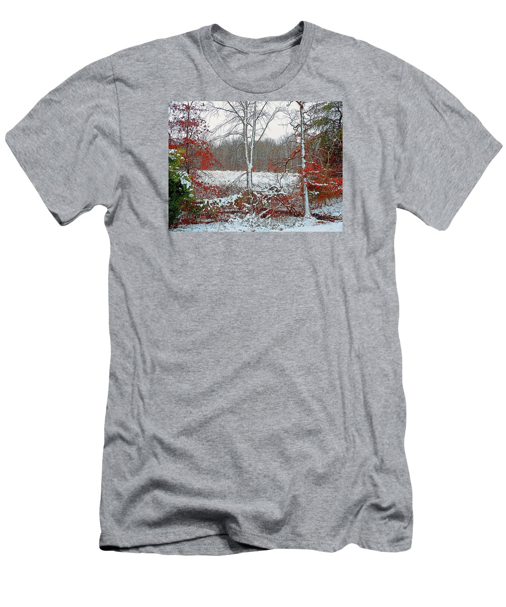 Autumn Men's T-Shirt (Athletic Fit) featuring the photograph Autumn Snow by Kevin Jackson