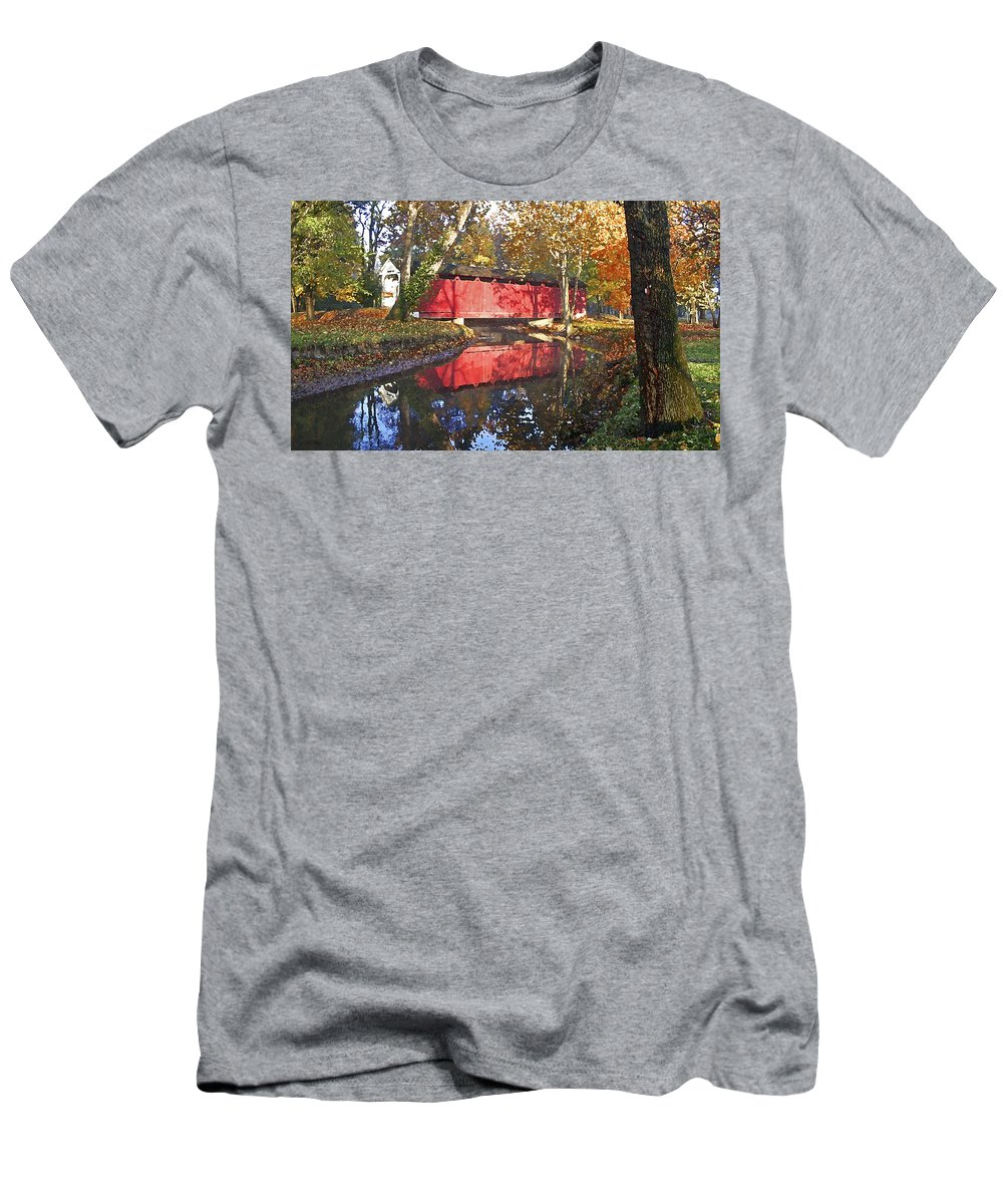 Covered Bridge Men's T-Shirt (Athletic Fit) featuring the photograph Autumn Sunrise Bridge by Margie Wildblood