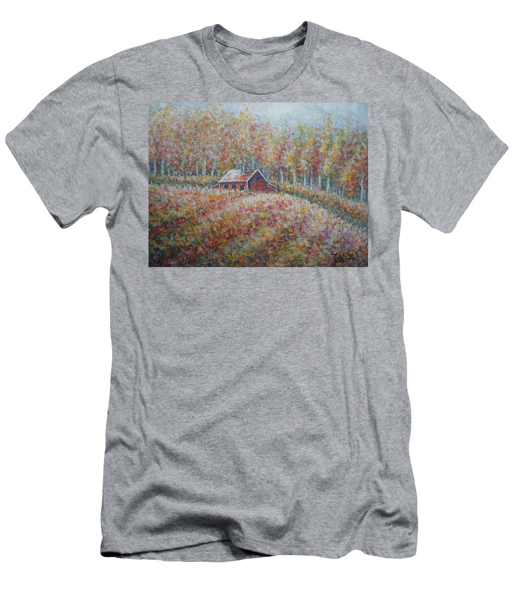Landscape Men's T-Shirt (Athletic Fit) featuring the painting Autumn Whisper. by Natalie Holland