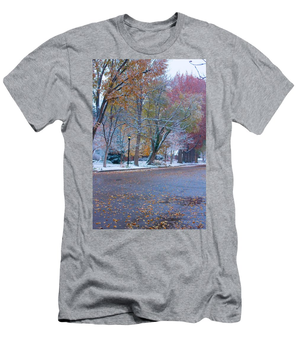 Street Men's T-Shirt (Athletic Fit) featuring the photograph Autumn Winter Street Light Color by James BO Insogna
