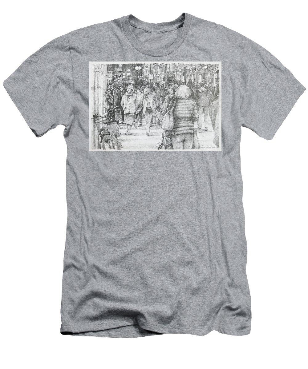 Avignon Men's T-Shirt (Athletic Fit) featuring the drawing Avignon Shoppers by Jon Falkenmire