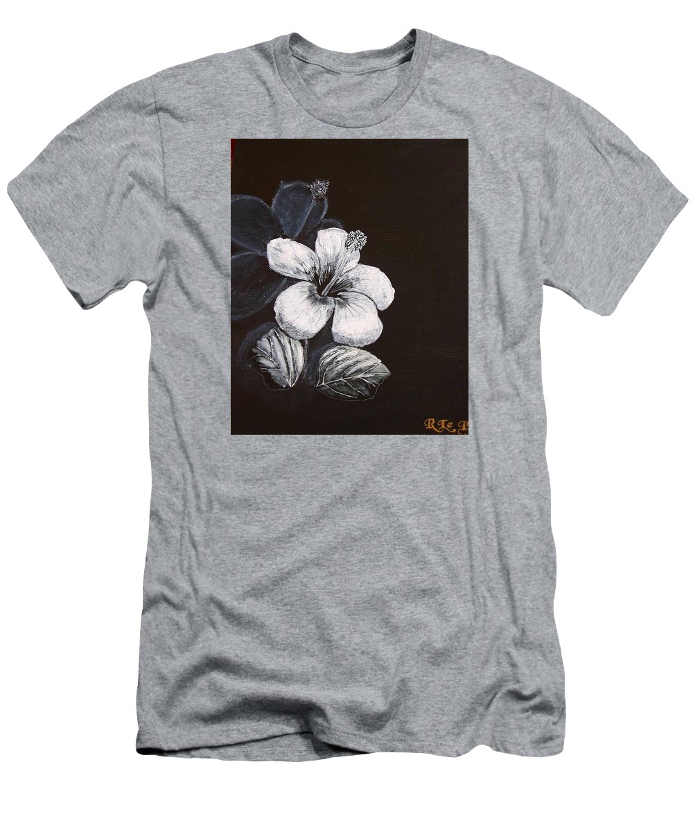 Hibiscus Men's T-Shirt (Athletic Fit) featuring the painting B And W Hibiscus by Richard Le Page