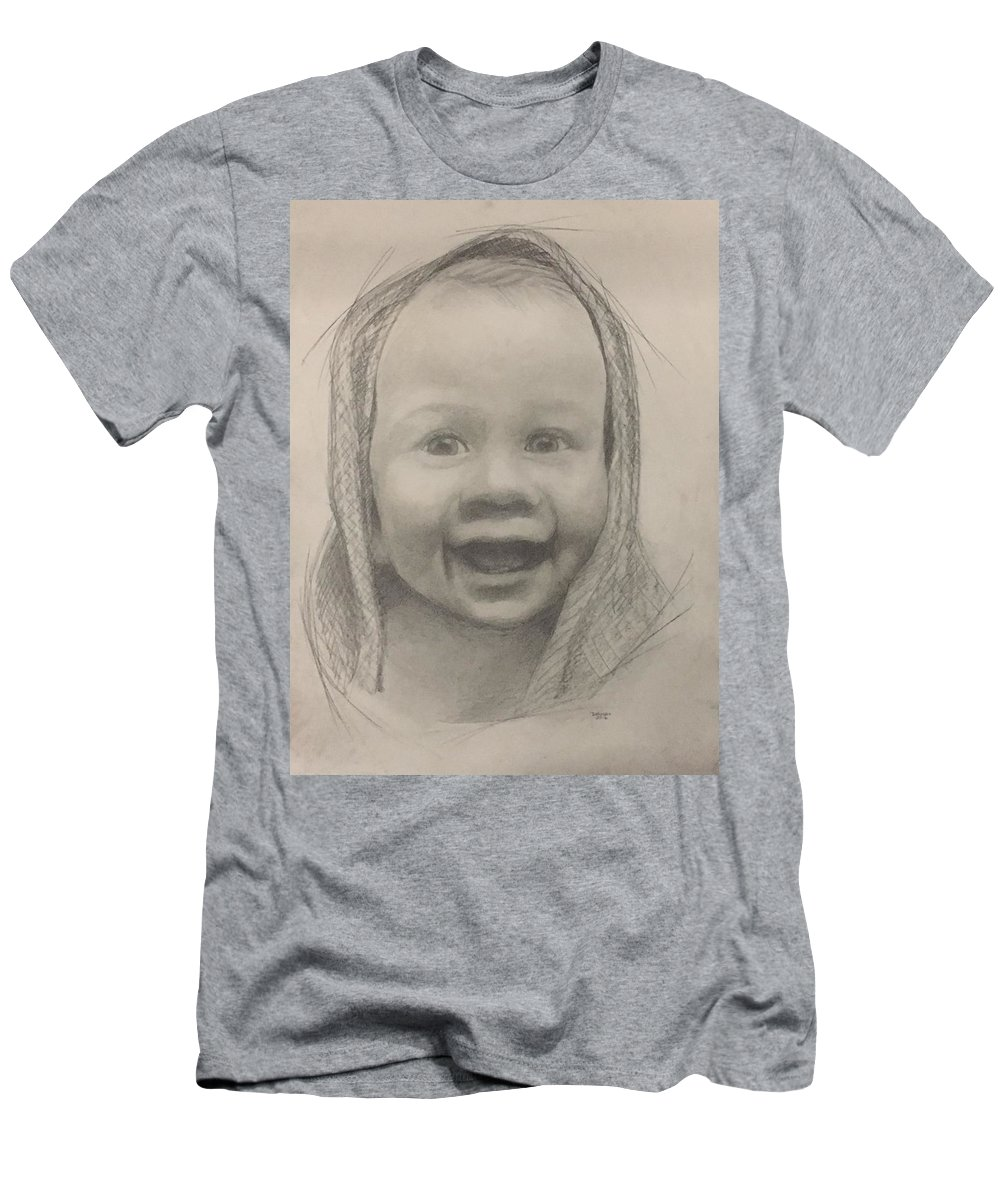 Baby Men's T-Shirt (Athletic Fit) featuring the drawing Baby 2 Portrait by Christopher Denham