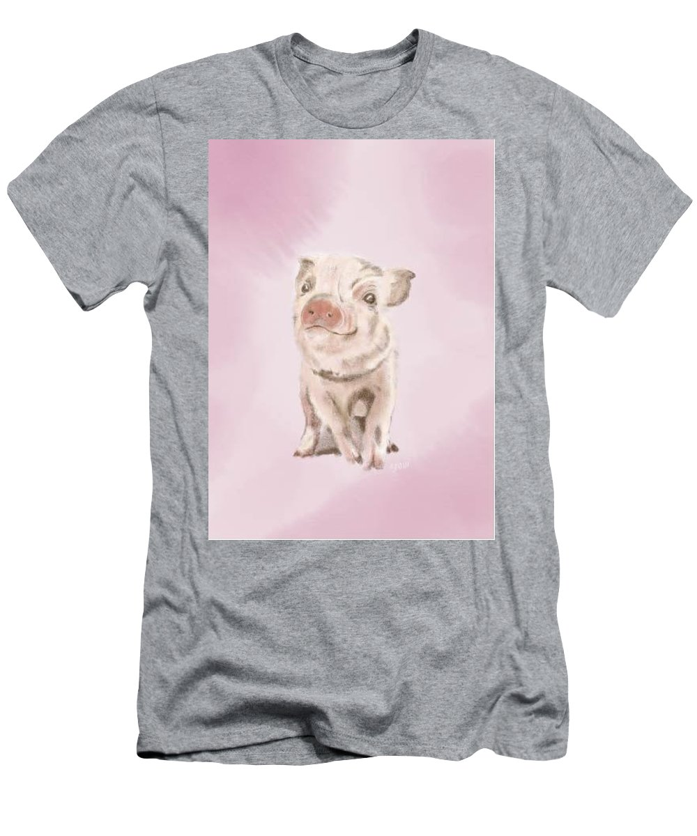 Baby Pig Men's T-Shirt (Athletic Fit) featuring the digital art Baby Piggy by Erin Salazar