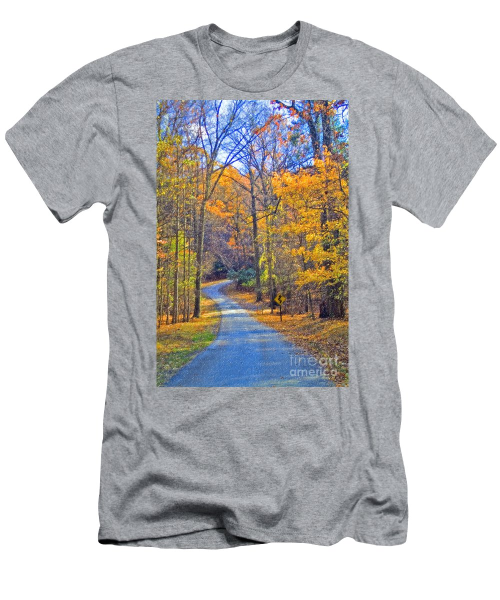 Back Road Fall Colors Foliage Revolutionary Civil War Road Valley Forge Pa Men's T-Shirt (Athletic Fit) featuring the photograph Back Road Fall Foliage by David Zanzinger