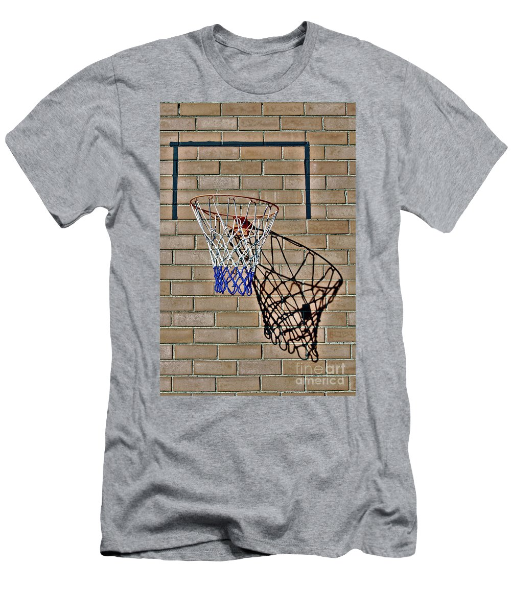 Basketball Men's T-Shirt (Athletic Fit) featuring the photograph Backyard Basketball by Stephen Mitchell