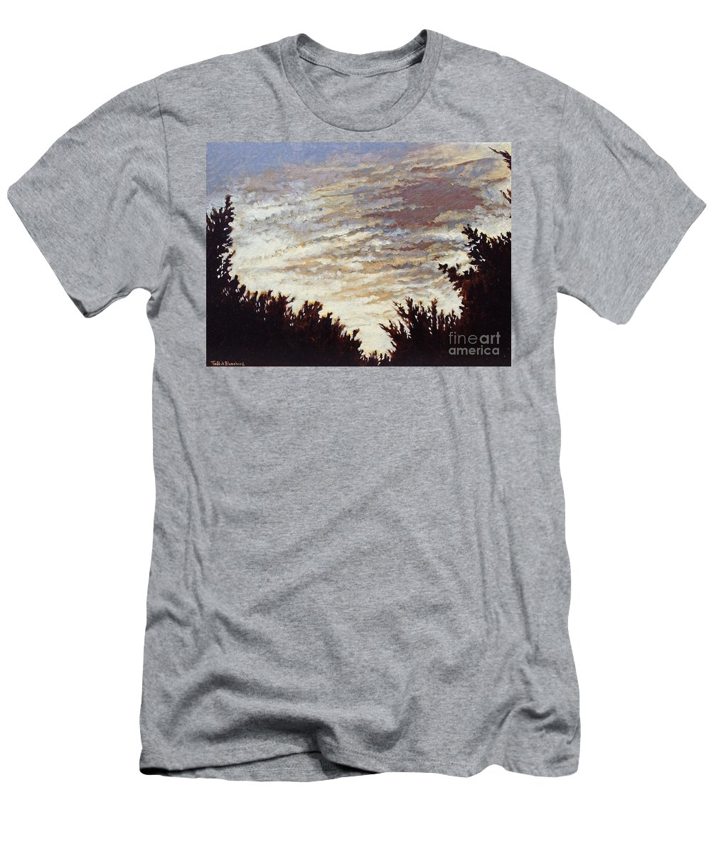 Landscape Men's T-Shirt (Athletic Fit) featuring the painting Backyard Sunset by Todd A Blanchard