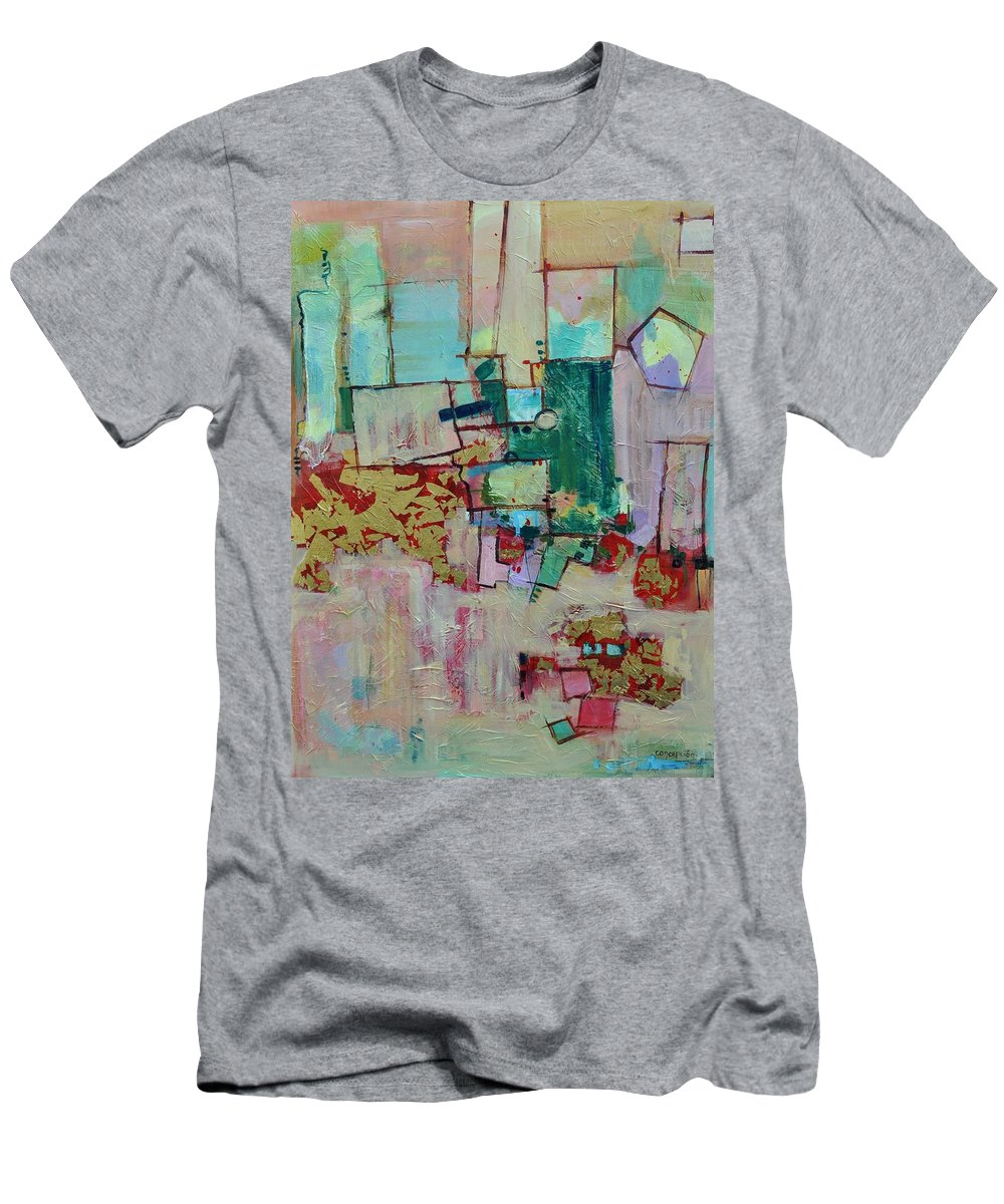 Geometric Abstract T-Shirt featuring the painting BadaBing by Ginger Concepcion