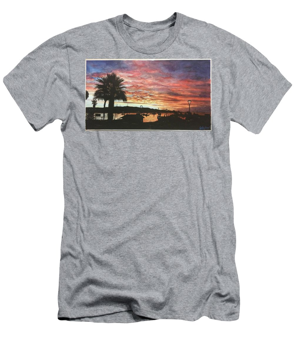 Watercolor Men's T-Shirt (Athletic Fit) featuring the painting Bahia Inglesa Landscape by Carola Moreno