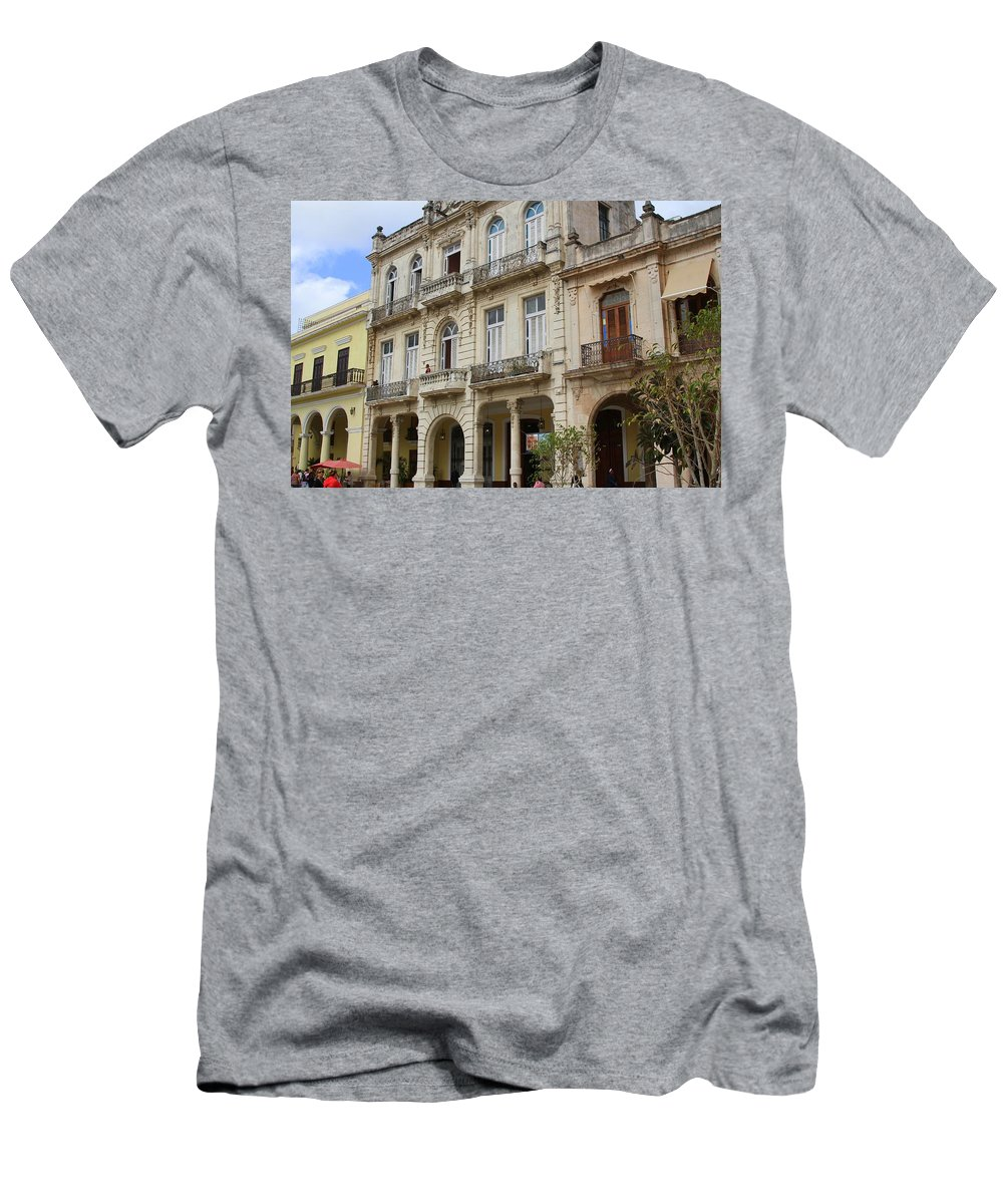 Ancient Men's T-Shirt (Athletic Fit) featuring the photograph Balconies On Old Historic Buildings by Nadine Mot Mitchell