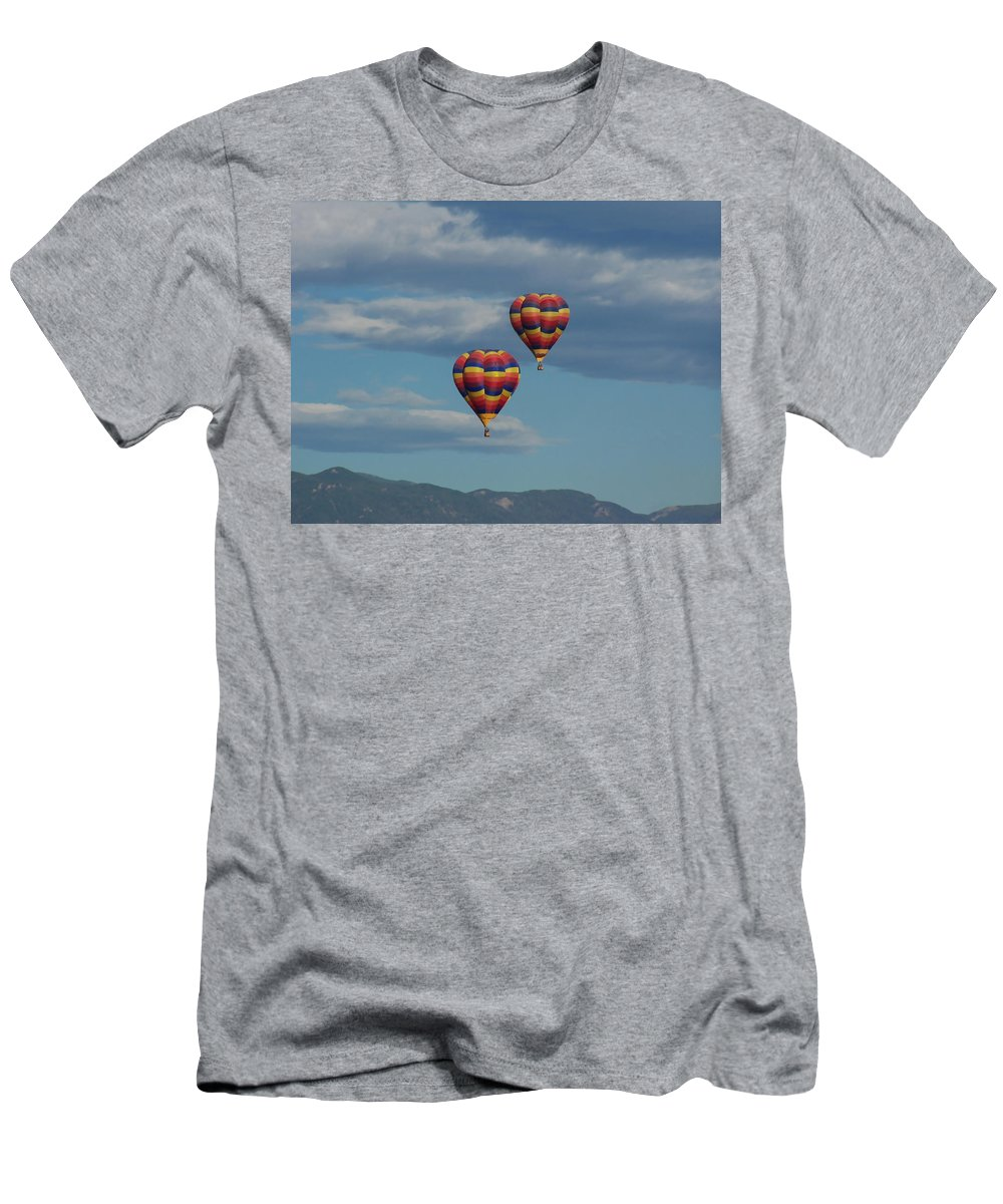 Balloons Men's T-Shirt (Athletic Fit) featuring the photograph Balloons Over The Rockies by Ernie Echols