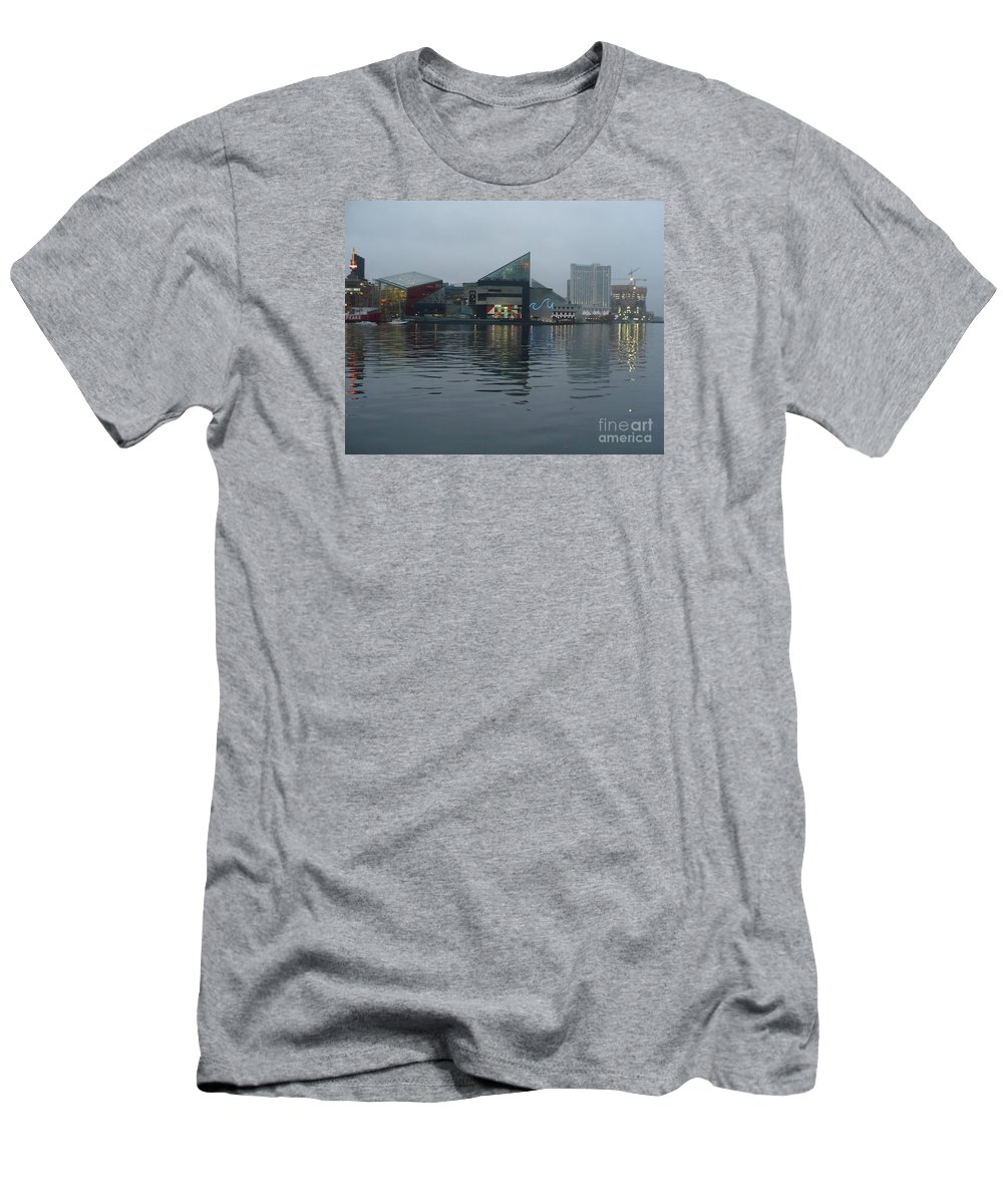 Baltimore Men's T-Shirt (Athletic Fit) featuring the photograph Baltimore Harbor Reflection by Carol Groenen