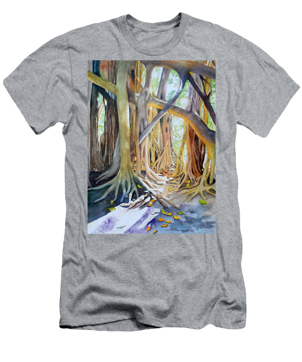 Pinecrest Gardens Men's T-Shirt (Athletic Fit) featuring the painting Banyan Shadow And Light by Terry Arroyo Mulrooney
