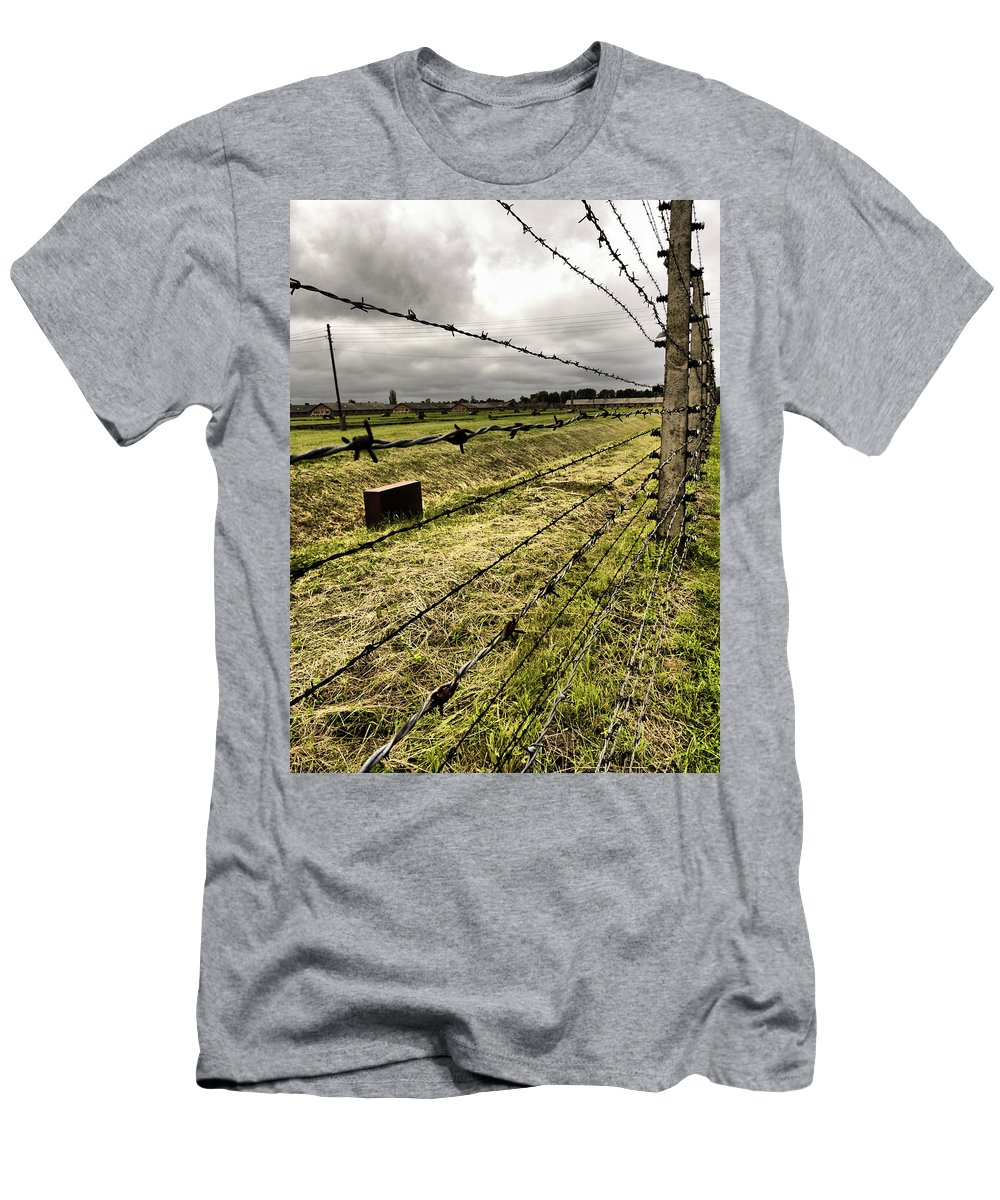 Abstract Men's T-Shirt (Athletic Fit) featuring the photograph Barbed Wire Fence by Kelly Jenkins