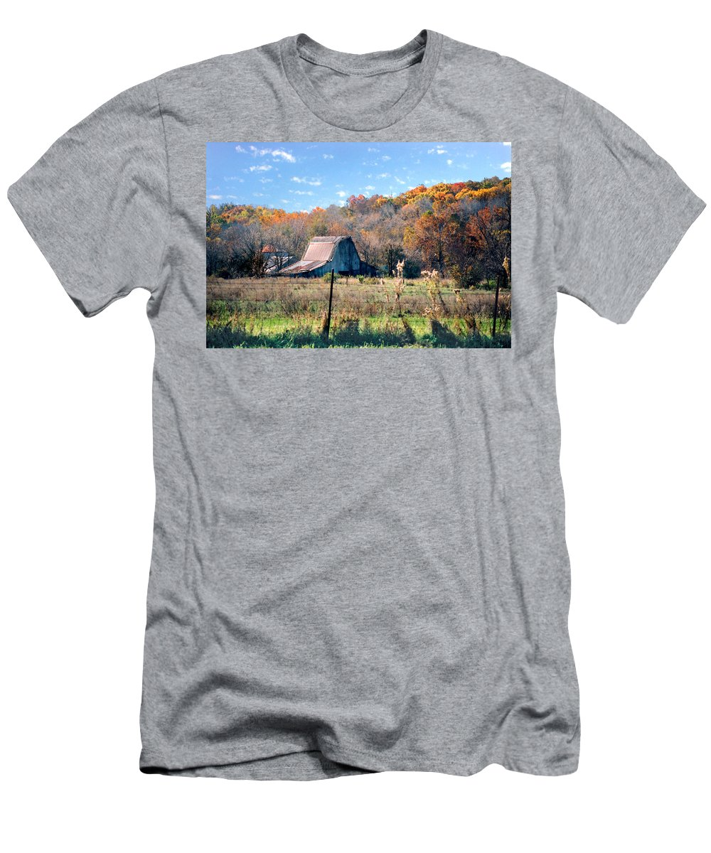Landscape Men's T-Shirt (Athletic Fit) featuring the photograph Barn In Liberty Mo by Steve Karol