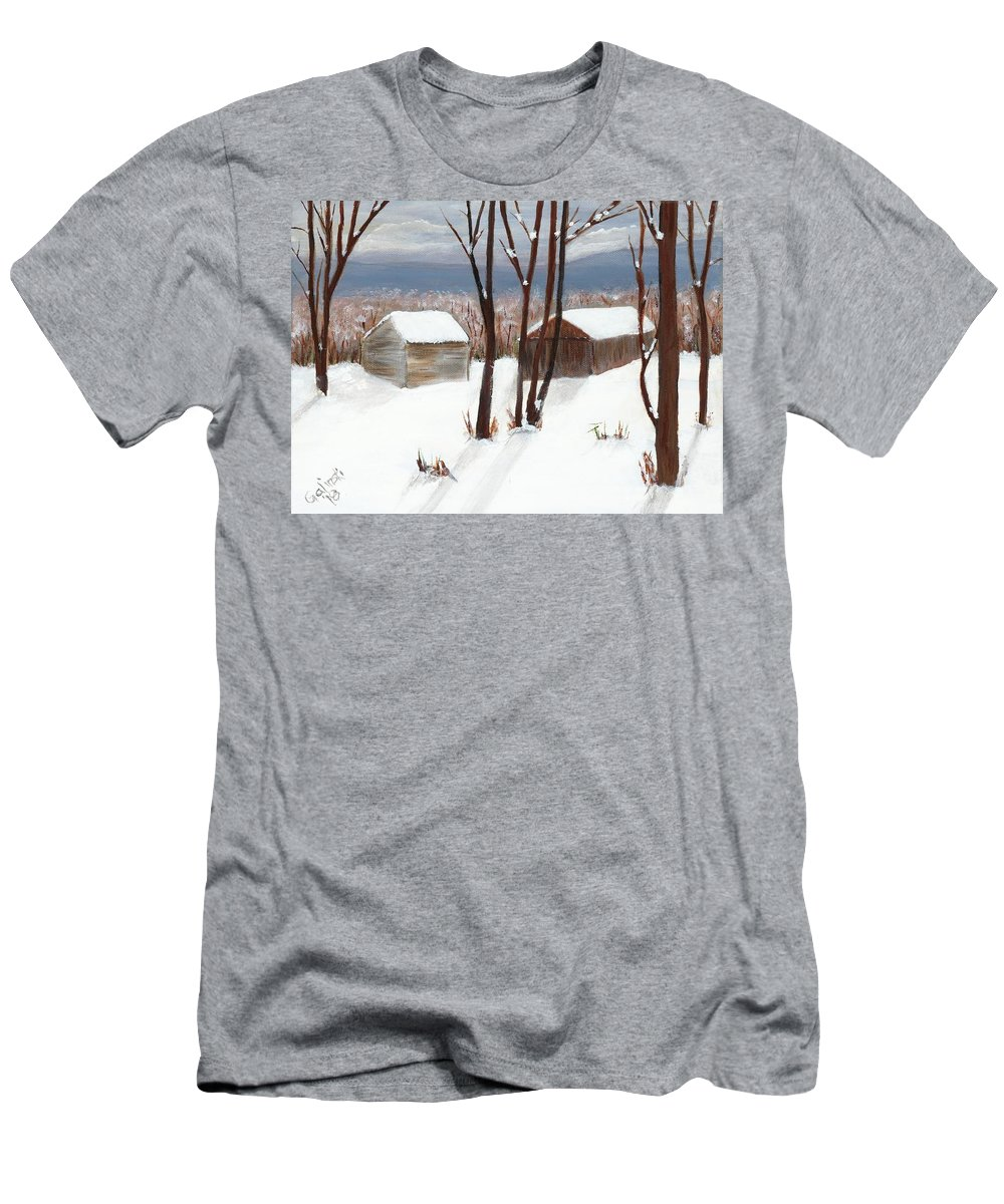 Winter Men's T-Shirt (Athletic Fit) featuring the painting Barns Of West Sand Lake by Sheryl Galinski