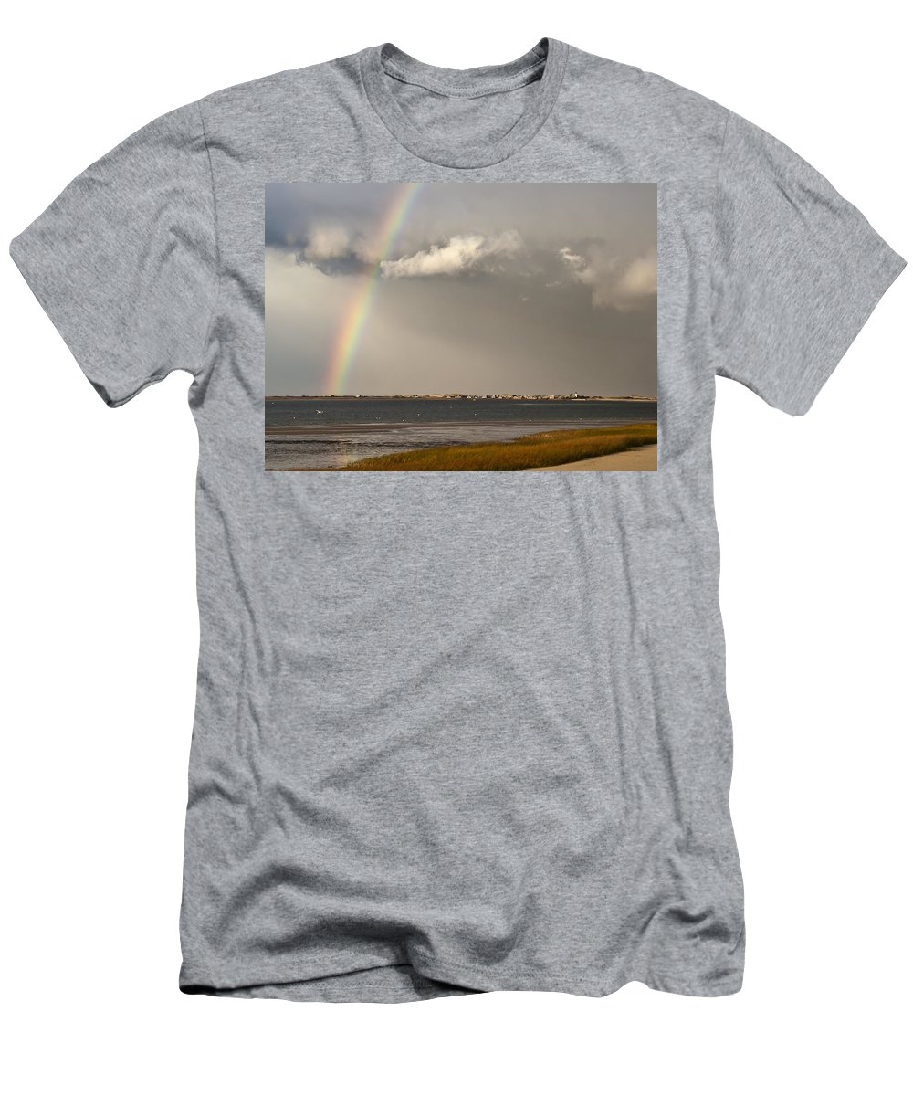 Rainbow Men's T-Shirt (Athletic Fit) featuring the photograph Barnstable Harbor Rainbow by Charles Harden