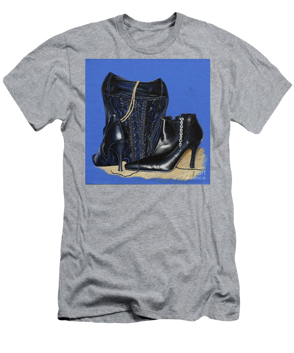 Baroque Still Life Boots Pearls Basque Bracelet Velvet Lace Black Heels Men's T-Shirt (Athletic Fit) featuring the painting Baroque Still Life by Pauline Sharp