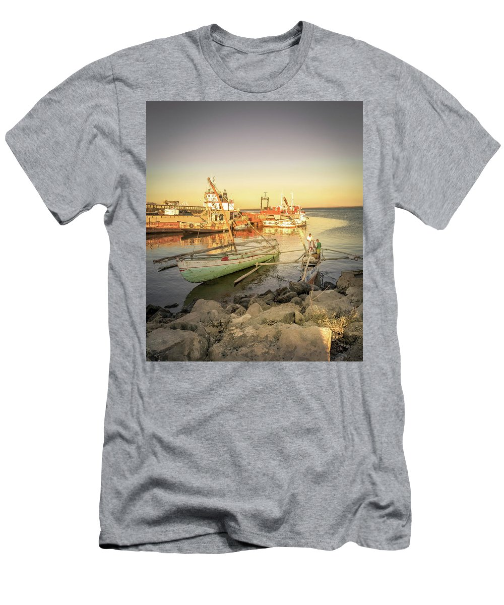 Sailing Boat Men's T-Shirt (Athletic Fit) featuring the photograph Barriquant Dock Under Sunset by Louloua Asgaraly