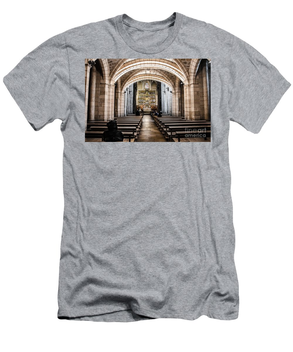 Castilla Leon Men's T-Shirt (Athletic Fit) featuring the photograph Basilica Of San Isidoro De Leon - Interior by RicardMN Photography