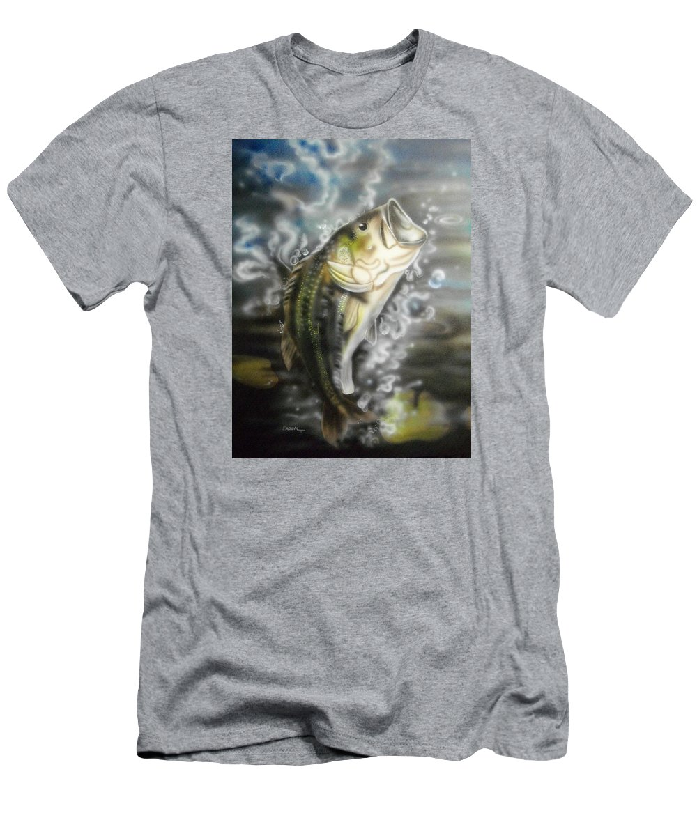 Fish Men's T-Shirt (Athletic Fit) featuring the painting Bass Jumpin by Scott Easom