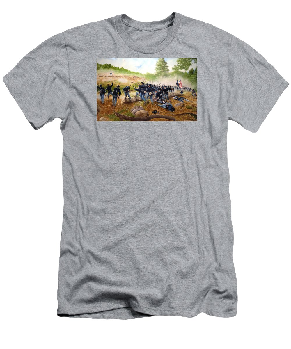 Civil War Men's T-Shirt (Athletic Fit) featuring the painting Battle Of Utoy Creek by Marc Stewart