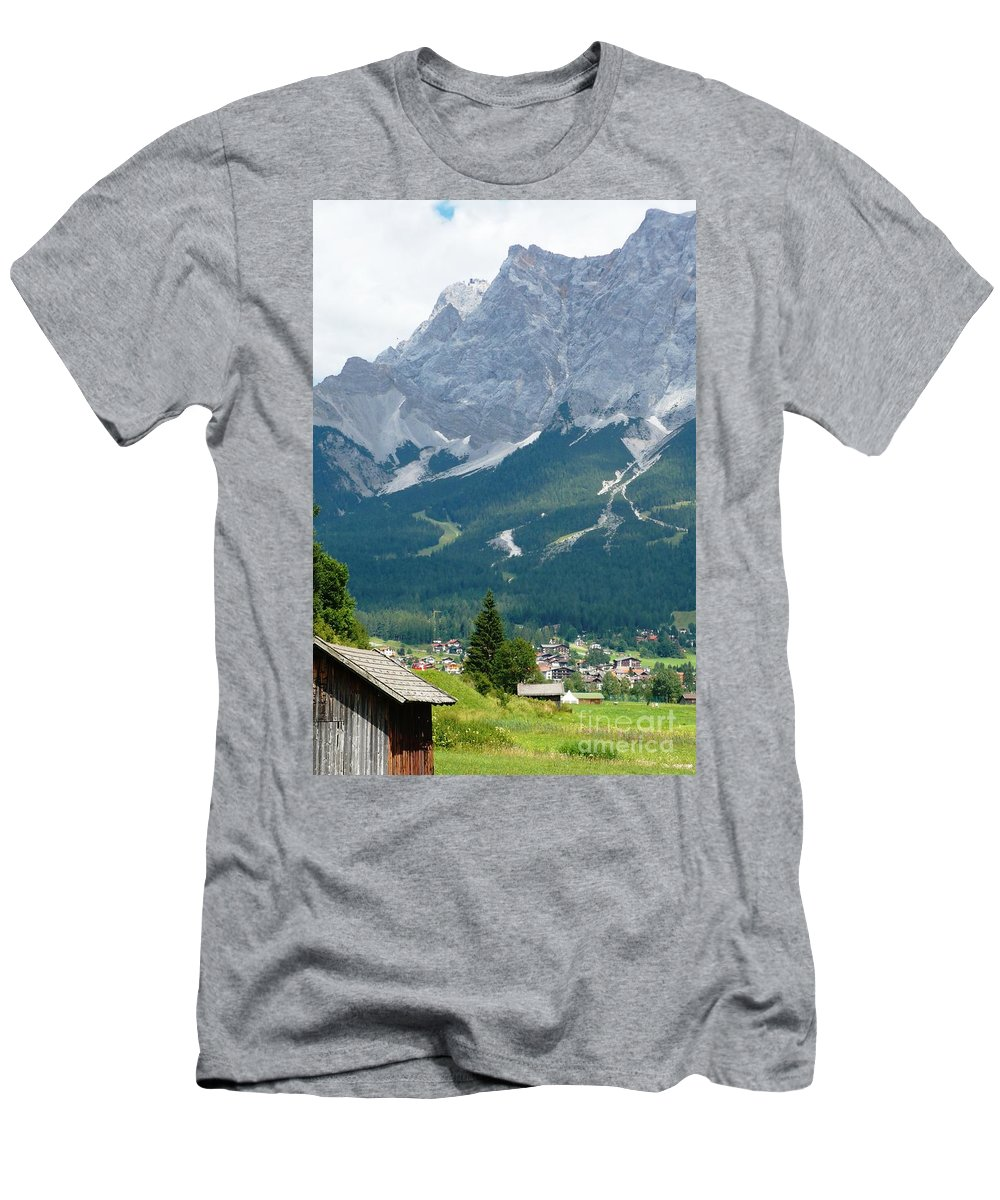 Mountains Men's T-Shirt (Athletic Fit) featuring the photograph Bavarian Alps With Shed by Carol Groenen