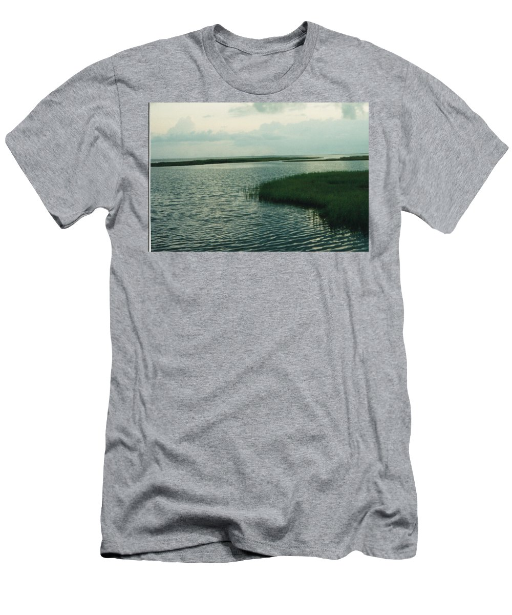 Bay Men's T-Shirt (Athletic Fit) featuring the photograph Bay And Marsh 1 by Cindy New