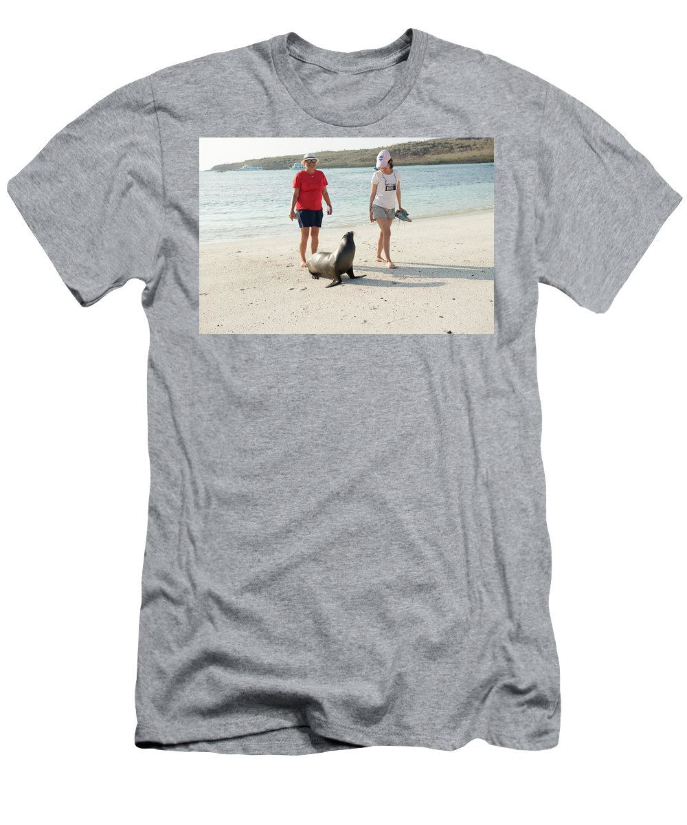 Beach Men's T-Shirt (Athletic Fit) featuring the photograph Beach At Santa Fe Island In Galapagos by Marek Poplawski