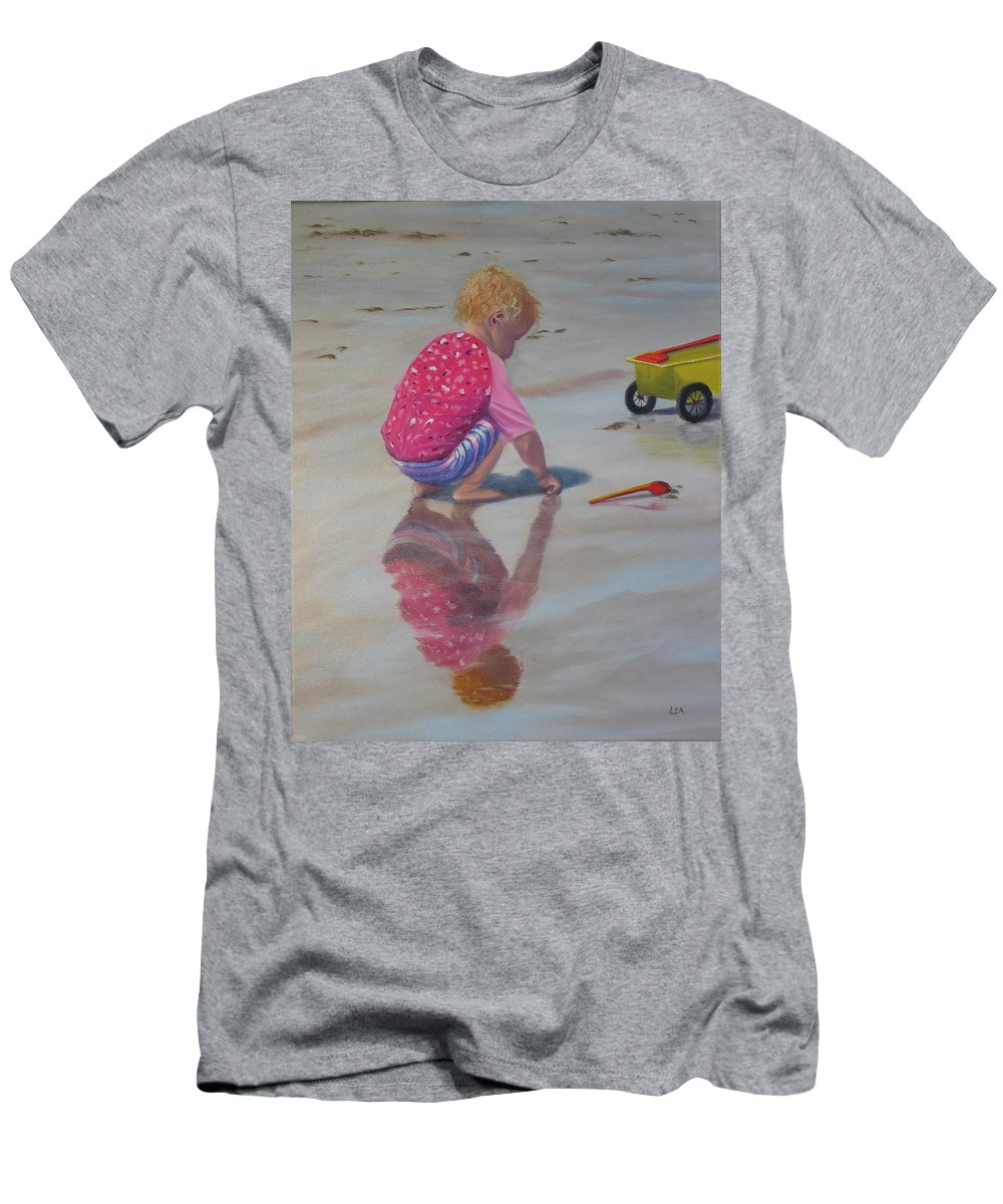 Baby Men's T-Shirt (Athletic Fit) featuring the painting Beach Baby by Lea Novak