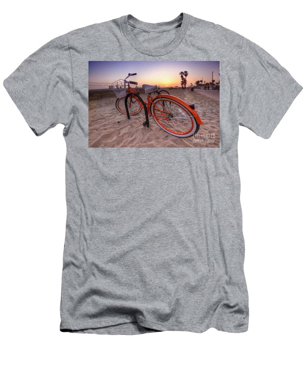 Yhun Suarez Men's T-Shirt (Athletic Fit) featuring the photograph Beach Bike by Yhun Suarez
