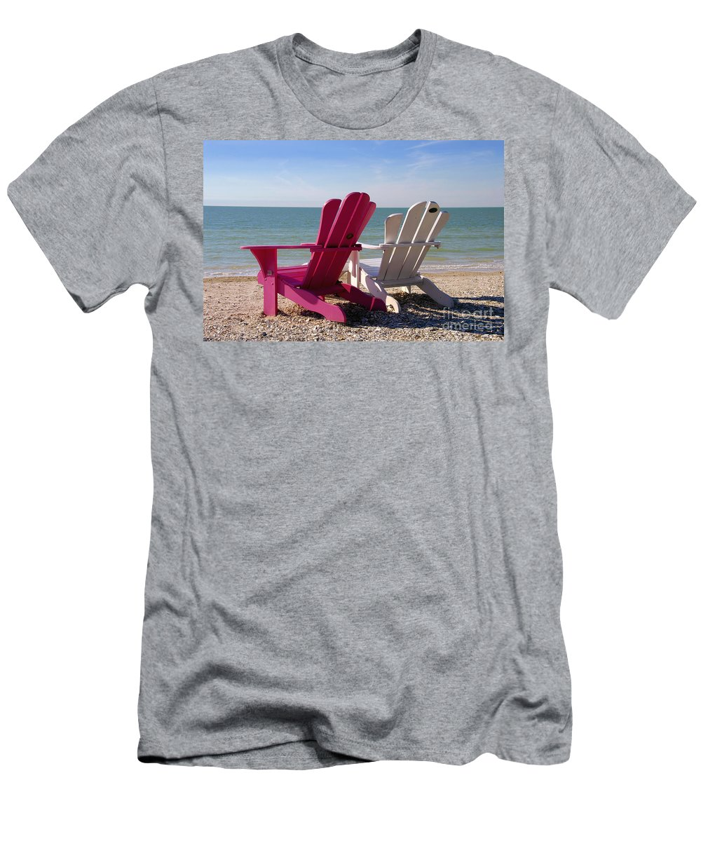 Beach Chairs Men's T-Shirt (Athletic Fit) featuring the photograph Beach Chairs by David Lee Thompson