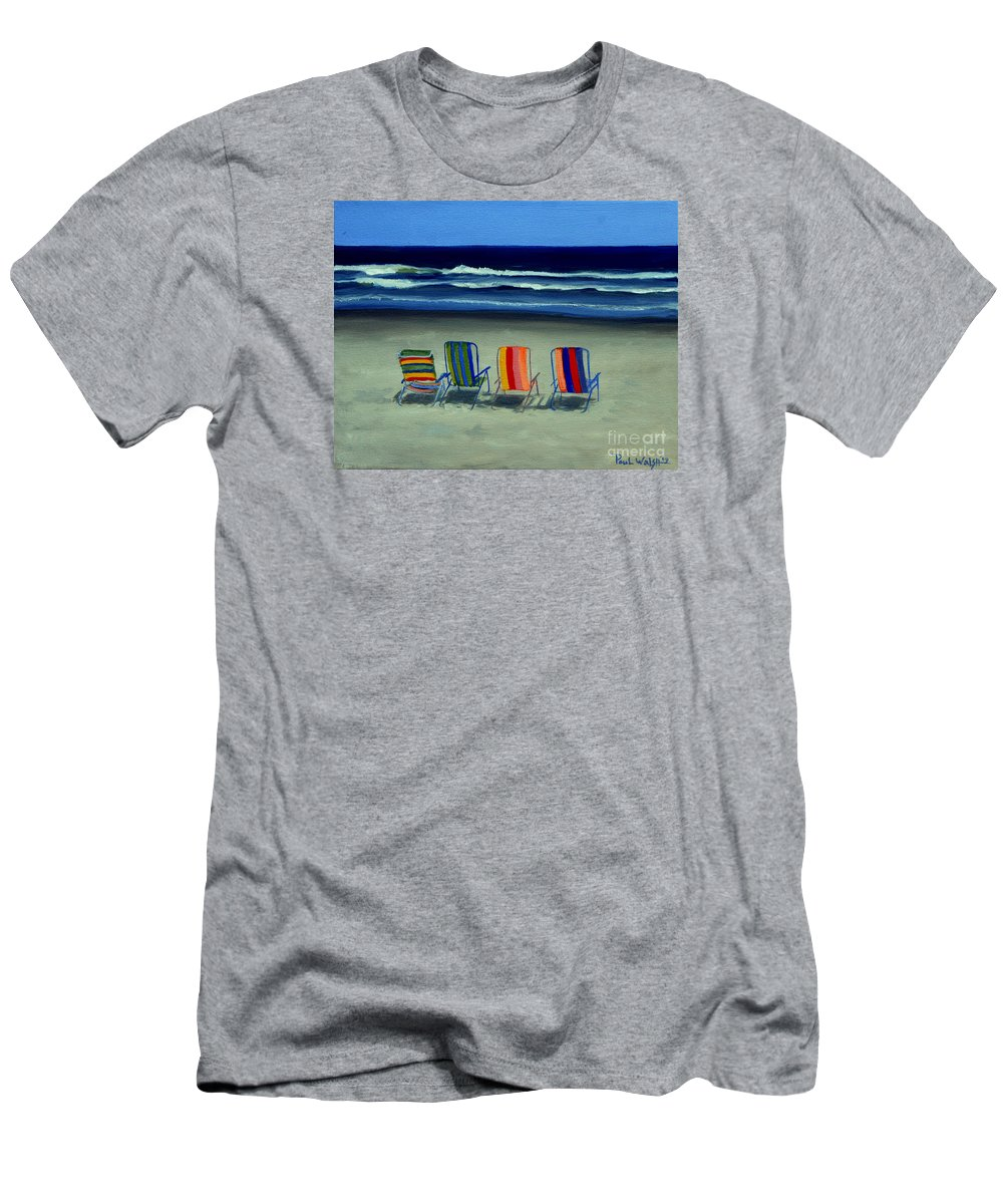 Beach Men's T-Shirt (Athletic Fit) featuring the painting Beach Chairs by Paul Walsh