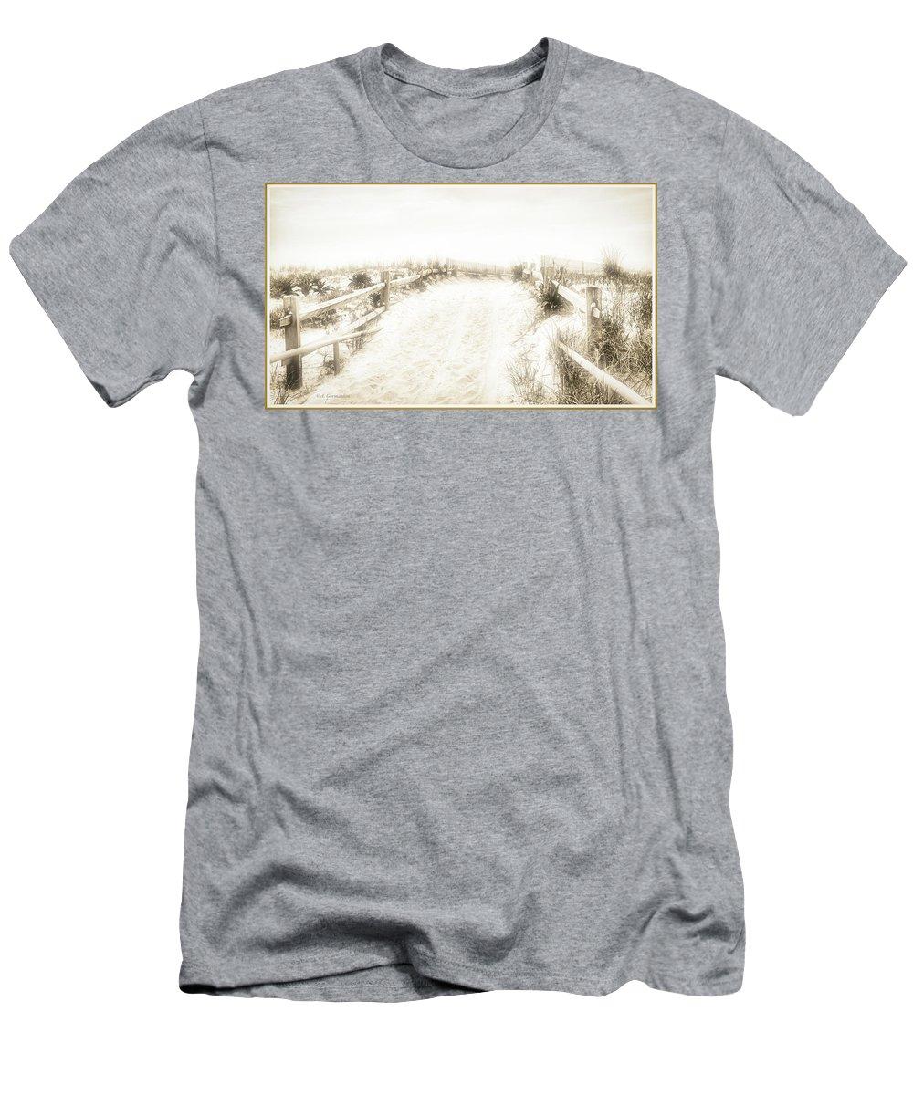 Beach Dune Men's T-Shirt (Athletic Fit) featuring the photograph Beach Dune Trail by A Gurmankin