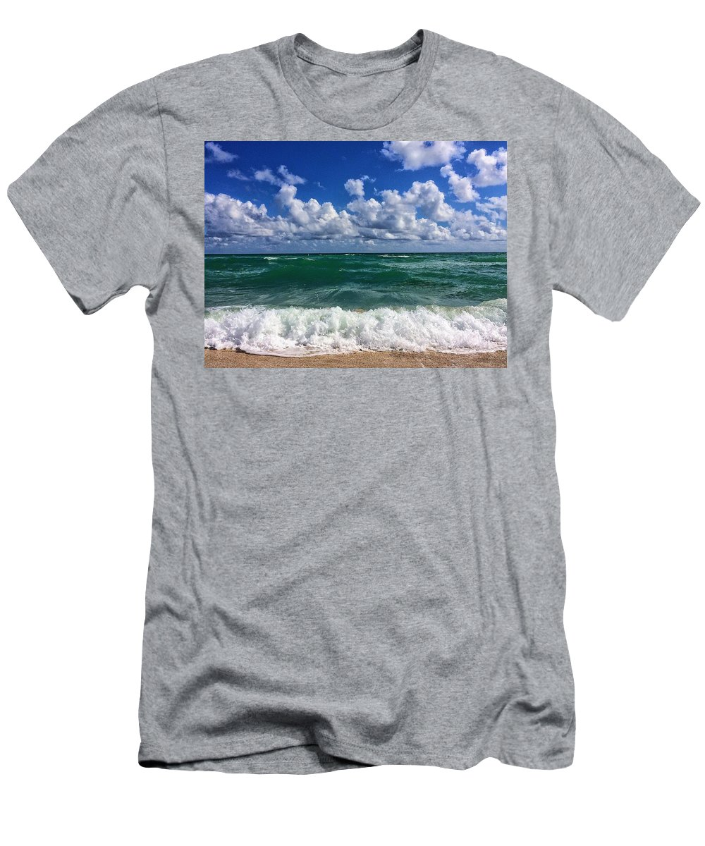 Beach Men's T-Shirt (Athletic Fit) featuring the mixed media Beach Paradise by Paul Wilford