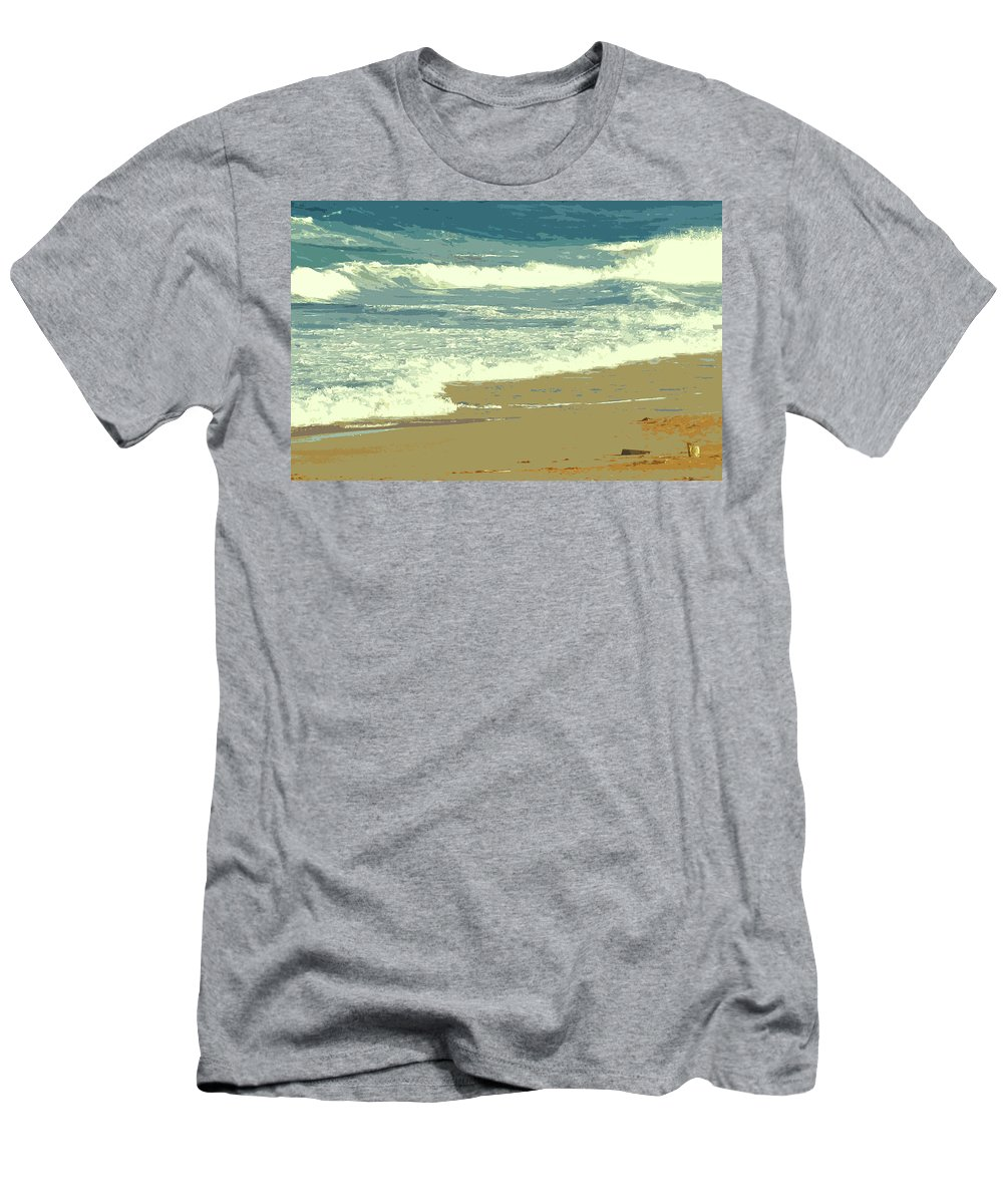 Beach Men's T-Shirt (Athletic Fit) featuring the photograph Beachcombers Walk by Ian MacDonald