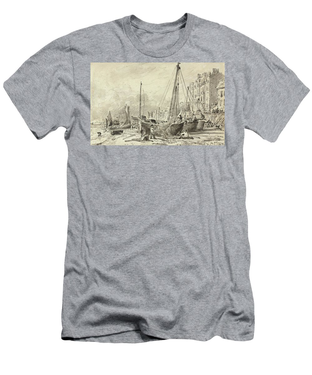 Constable Men's T-Shirt (Athletic Fit) featuring the drawing Beached Fishing Boats With Fishermen Mending Nets On The Beach At Brighton, Looking West by John Constable