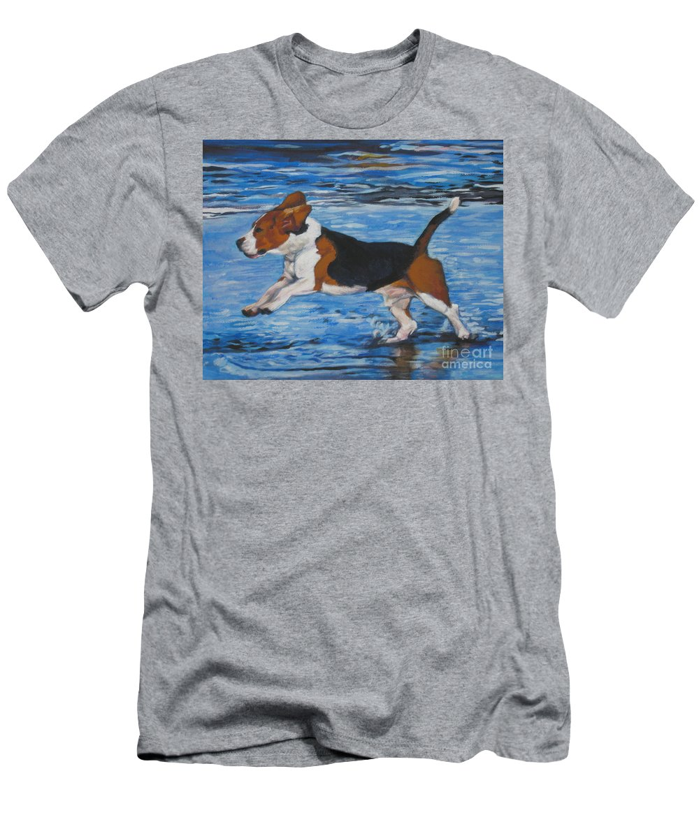 Beagle Men's T-Shirt (Athletic Fit) featuring the painting Beagle by Lee Ann Shepard