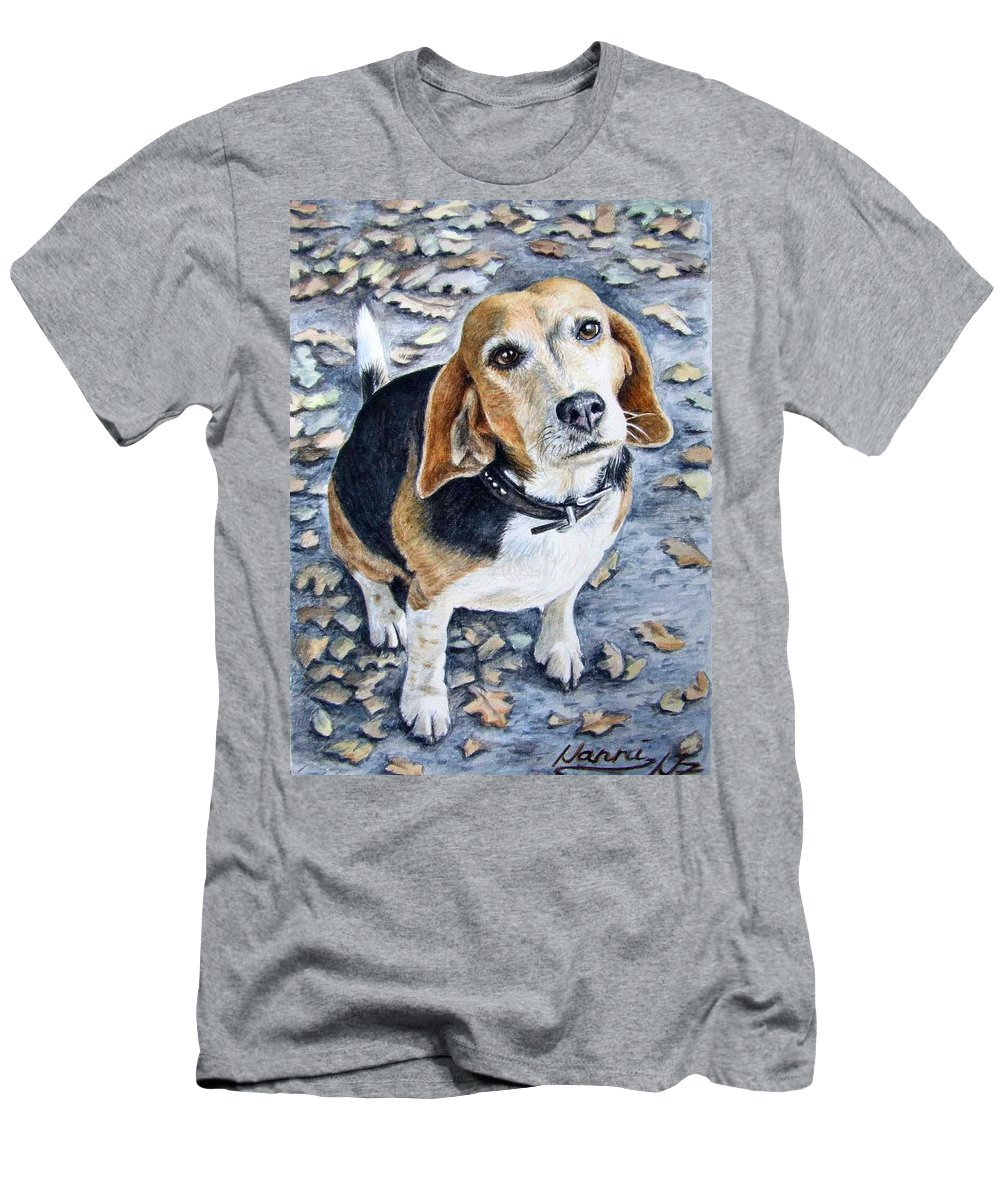 Dog Men's T-Shirt (Athletic Fit) featuring the painting Beagle Nanni by Nicole Zeug