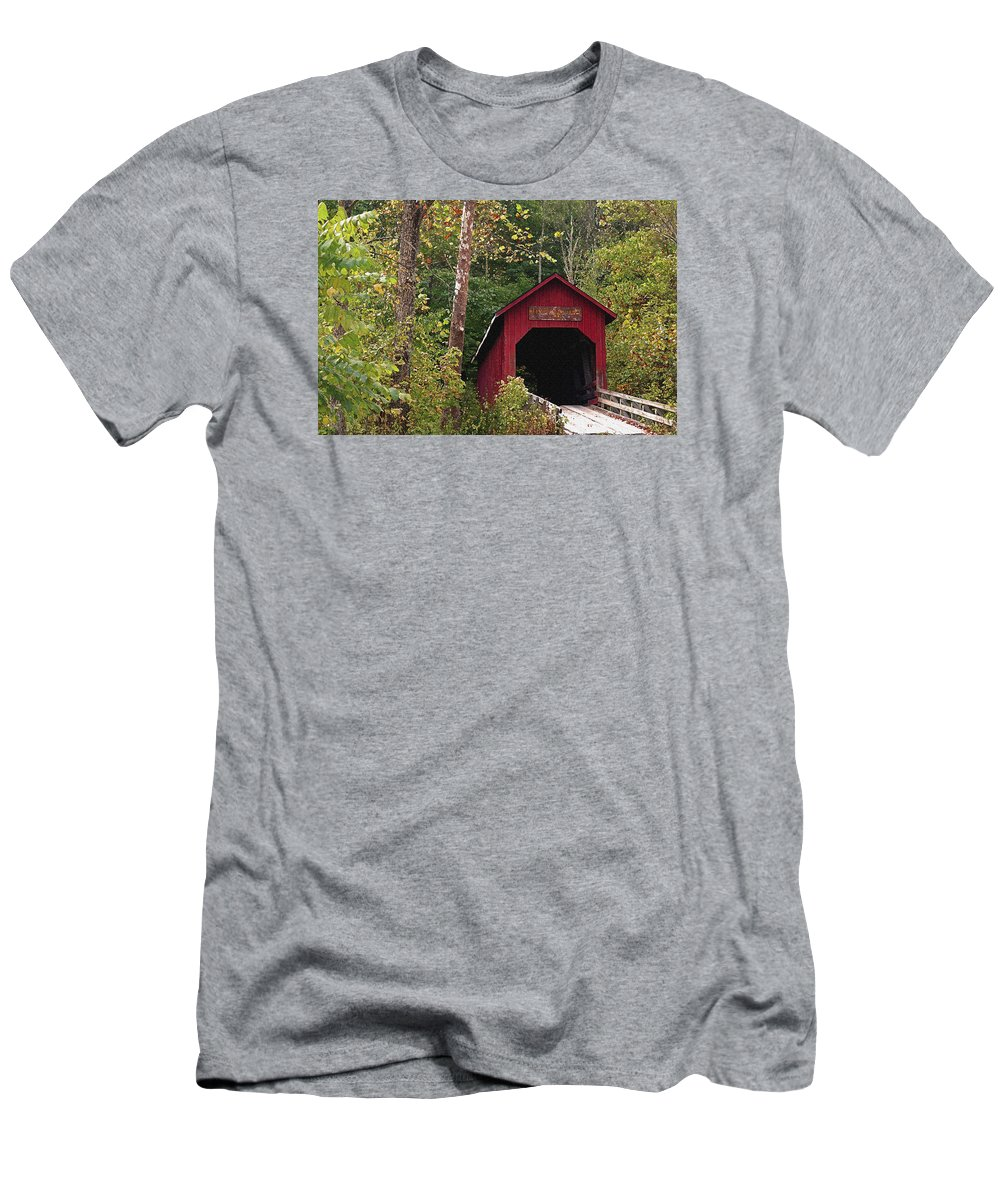 Covered Bridge Men's T-Shirt (Athletic Fit) featuring the photograph Bean Blossom Bridge I by Margie Wildblood