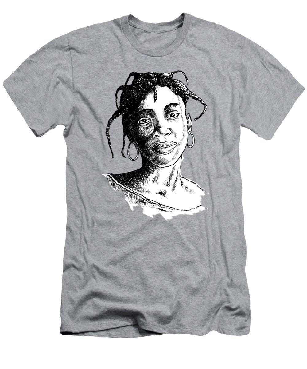 Biro T-Shirt featuring the painting Beautiful Girl by Anthony Mwangi