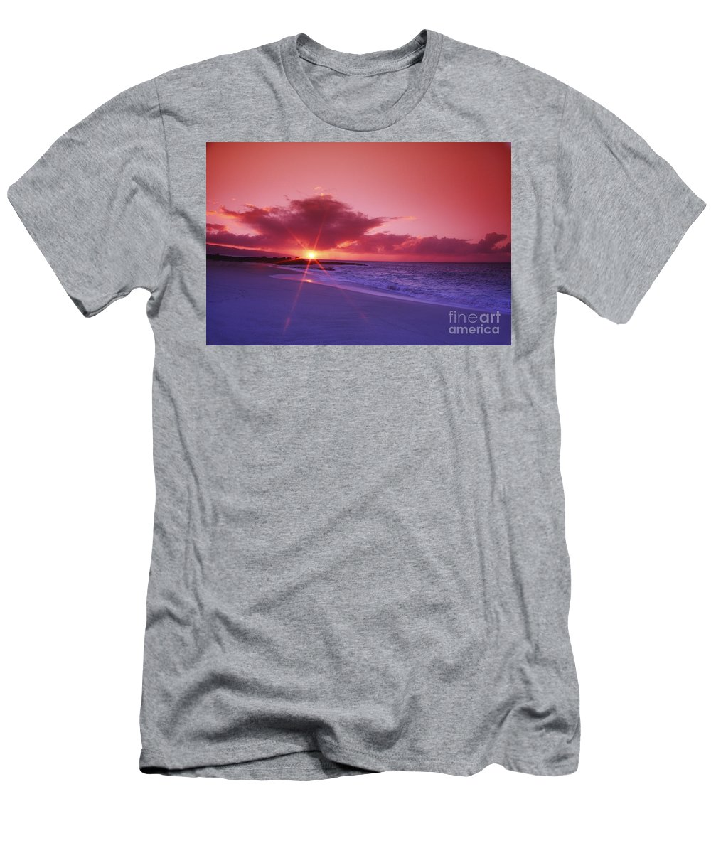 Beach Men's T-Shirt (Athletic Fit) featuring the photograph Beautiful Pink Sunset by Vince Cavataio - Printscapes