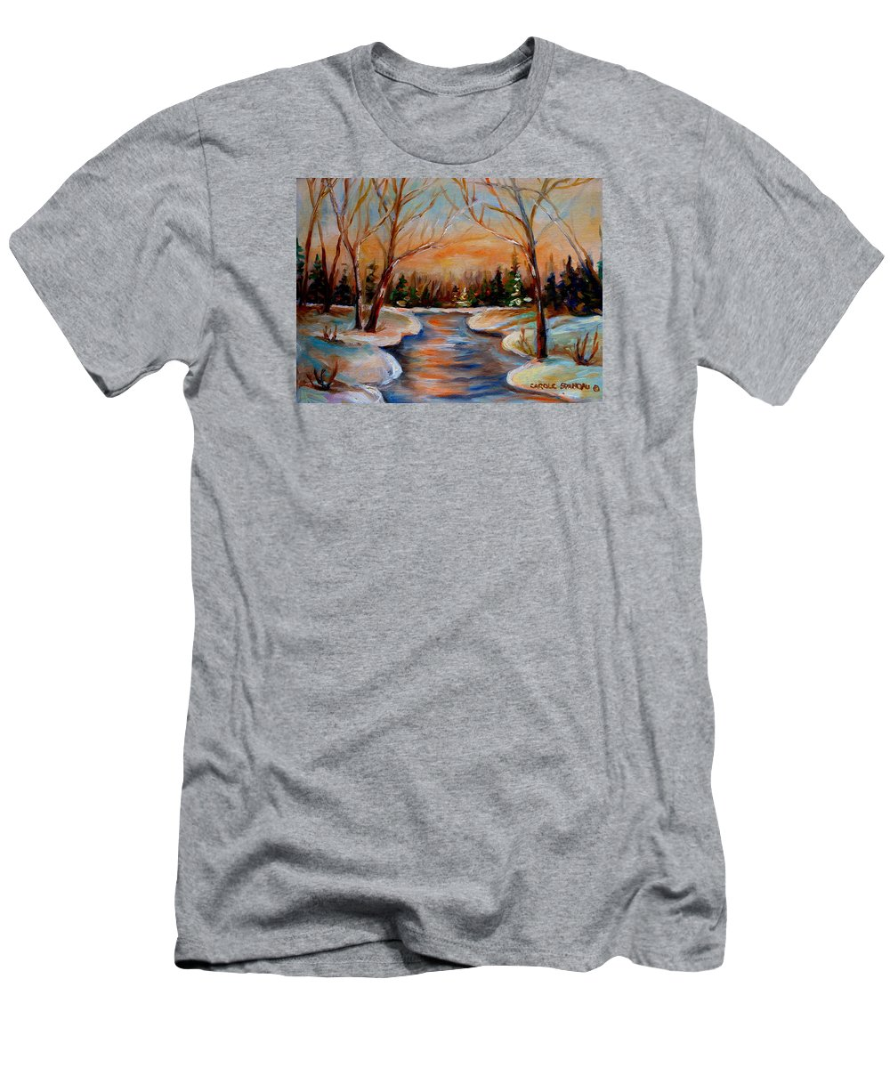 Men's T-Shirt (Athletic Fit) featuring the painting Beautiful Spring Thaw by Carole Spandau