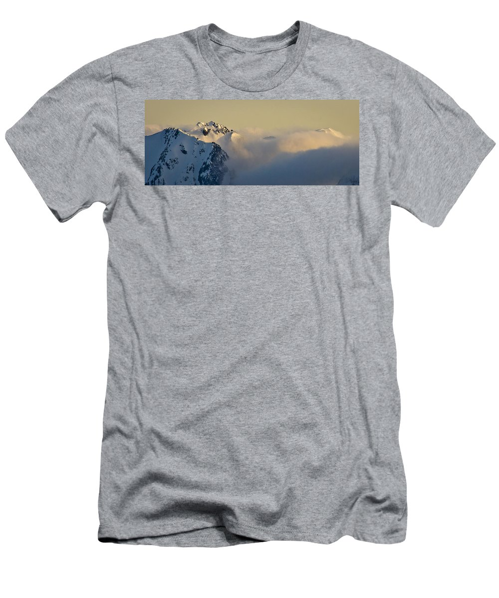 Olympic Mountains Men's T-Shirt (Athletic Fit) featuring the photograph Beauty Belies The Danger. by Albert Seger