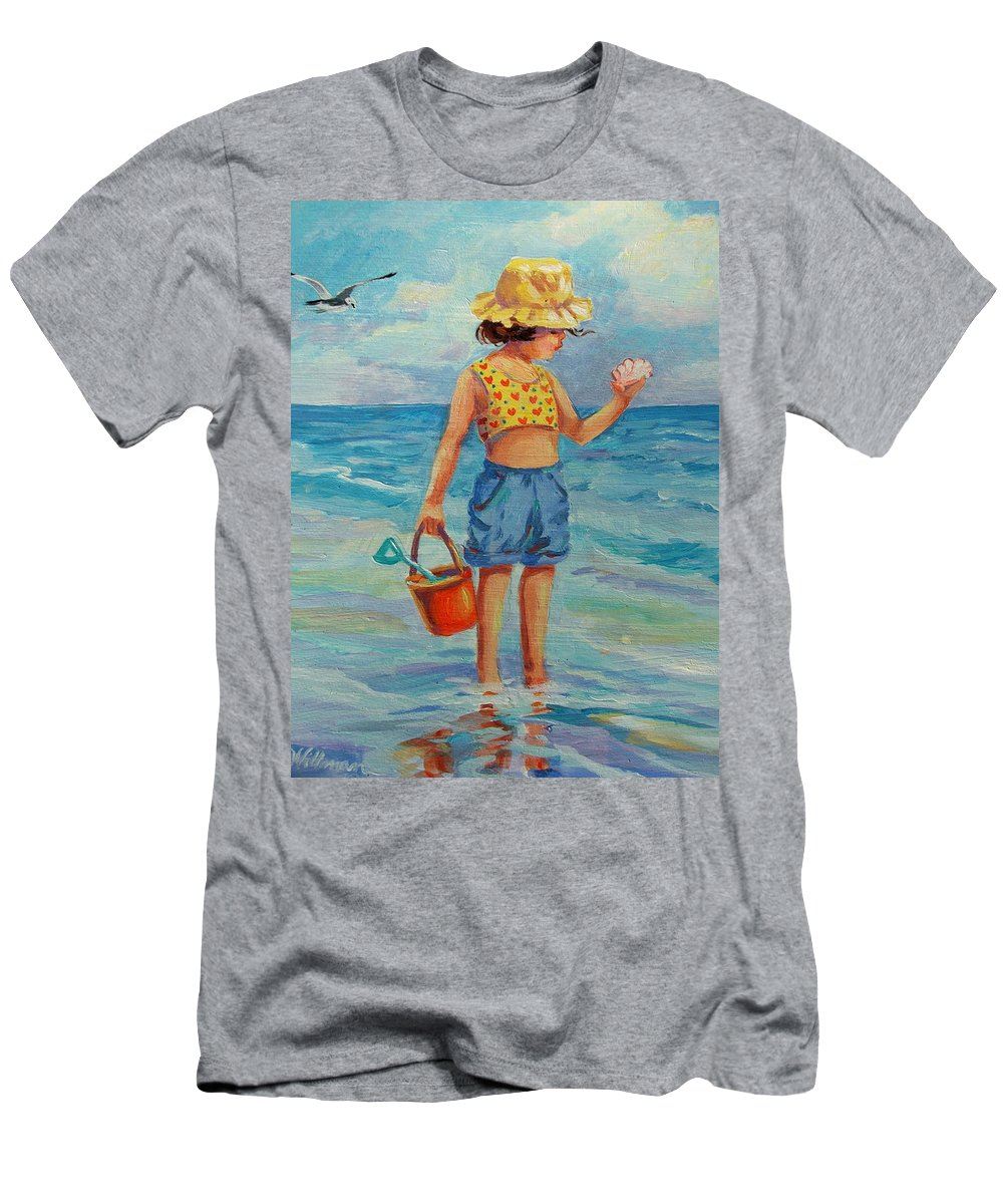 Child Men's T-Shirt (Athletic Fit) featuring the painting Beauty From The Sea by Dianna Willman
