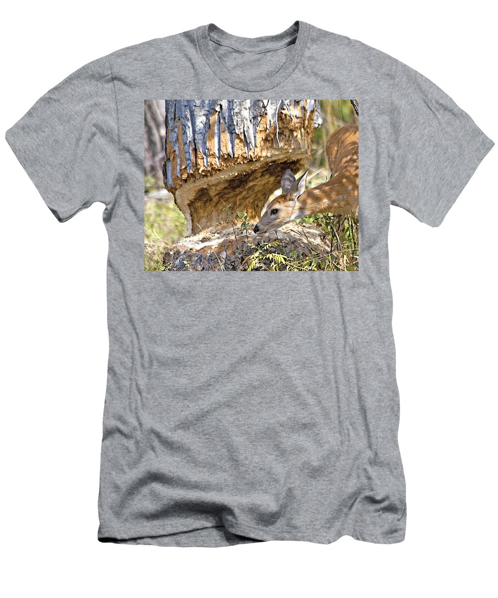 Deer Men's T-Shirt (Athletic Fit) featuring the photograph Beaver Wannabe by Gary Beeler