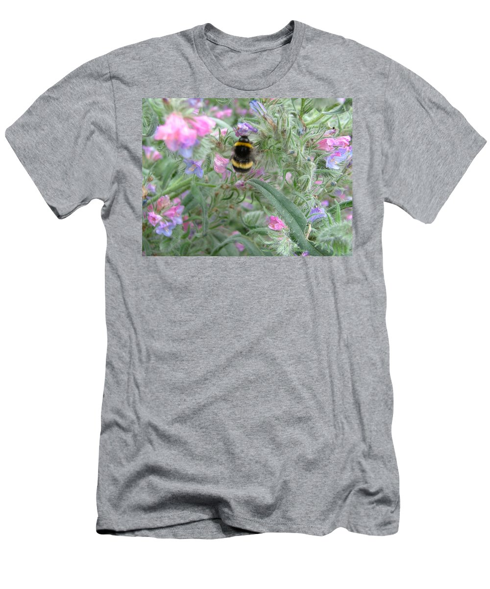 Bee And Flower Men's T-Shirt (Athletic Fit) featuring the photograph Bee And Flower by Heather Lennox