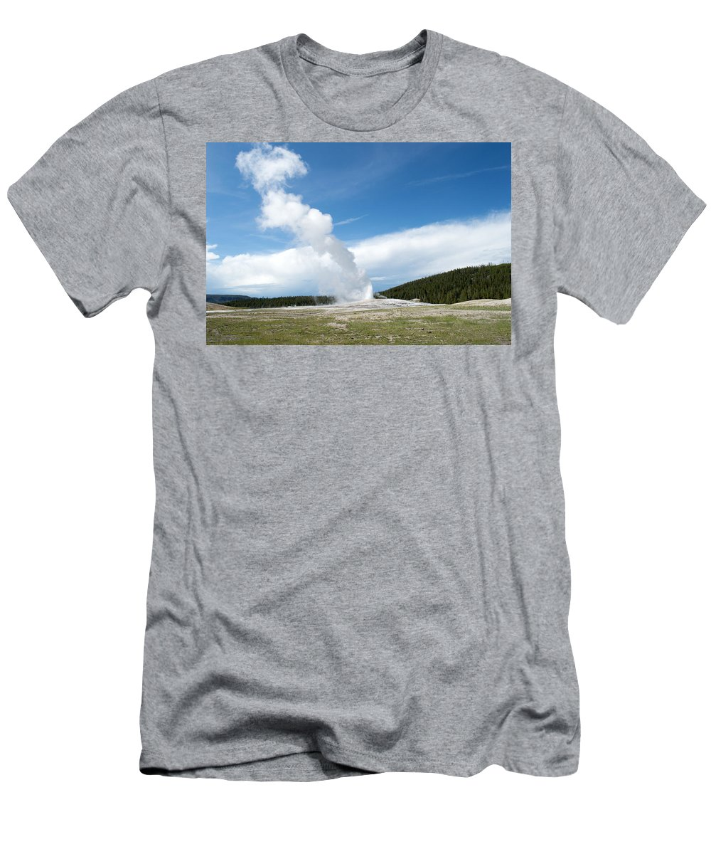 Geyser Men's T-Shirt (Athletic Fit) featuring the photograph Beginning by Linda Kerkau