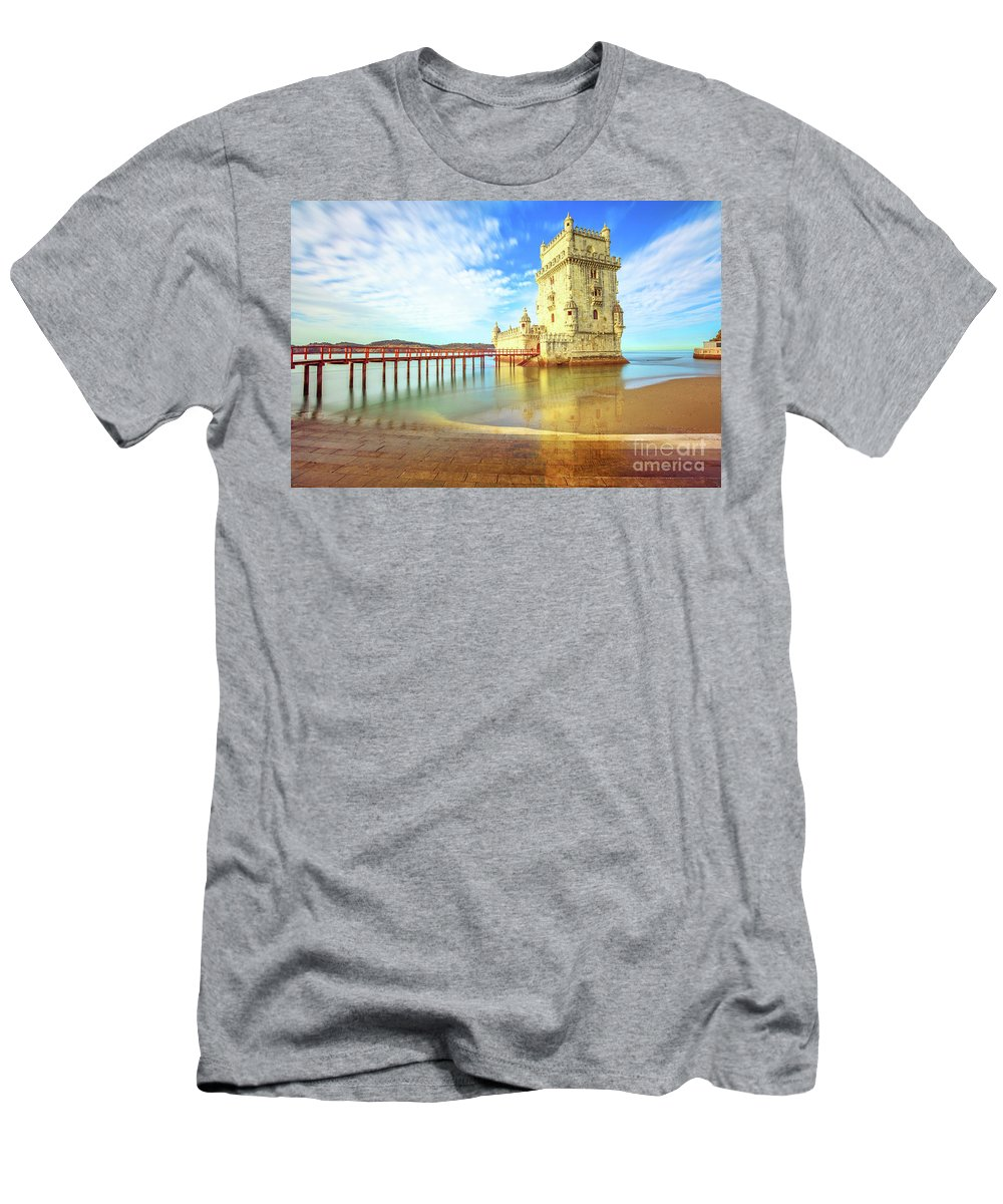 Lisbon Men's T-Shirt (Athletic Fit) featuring the photograph Belem Tower Reflects by Benny Marty